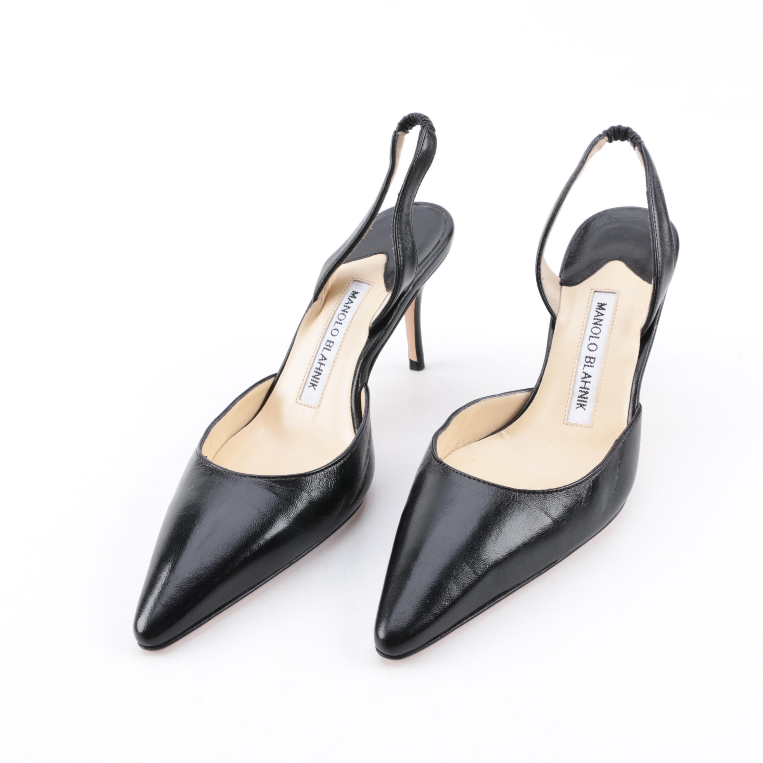 Women's Manolo Blahnik Carolyne Black Leather Slingback Stilettos