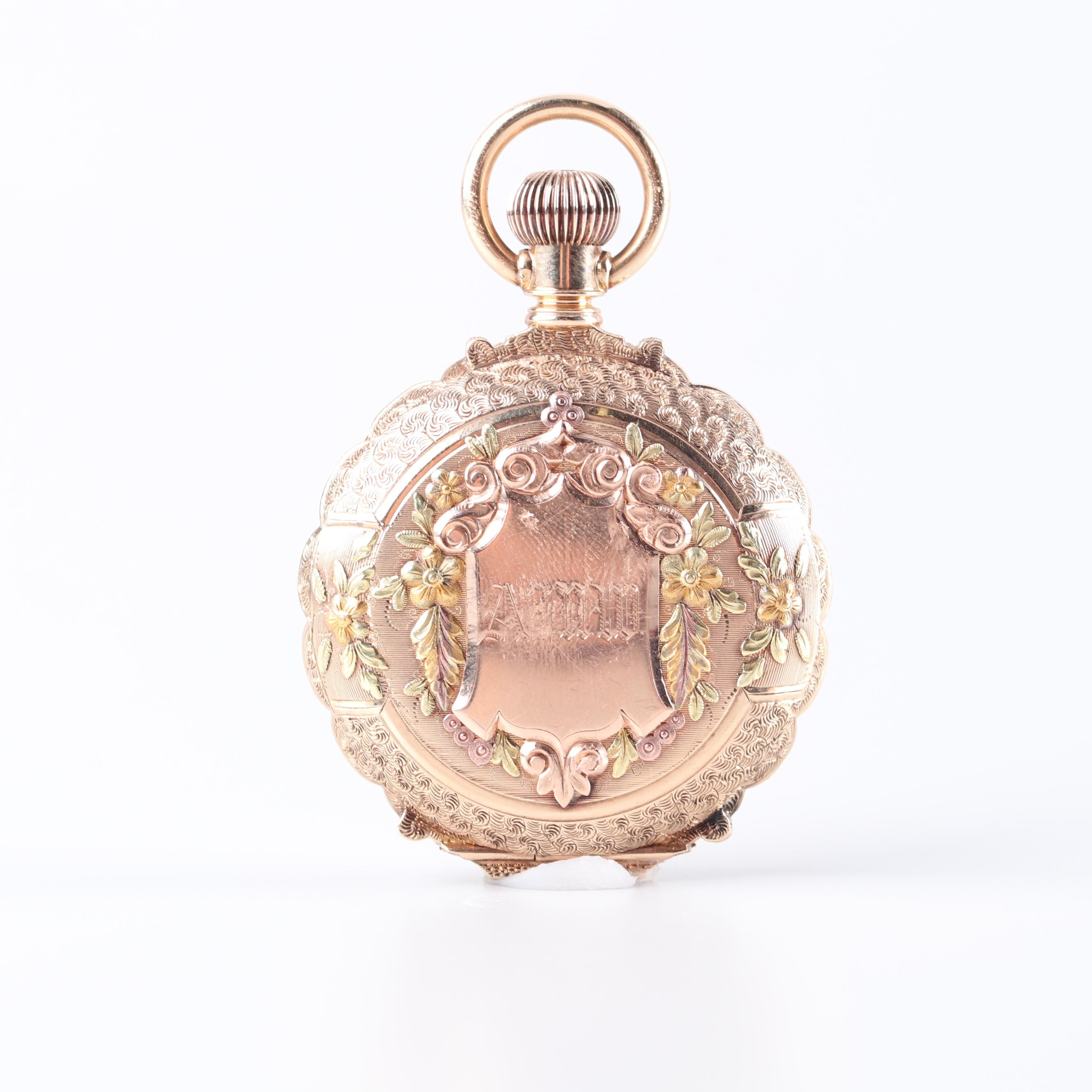 Elgin 14K Tri Color Gold Old Mine Cut Diamond Accent Pocket Watch, 1890