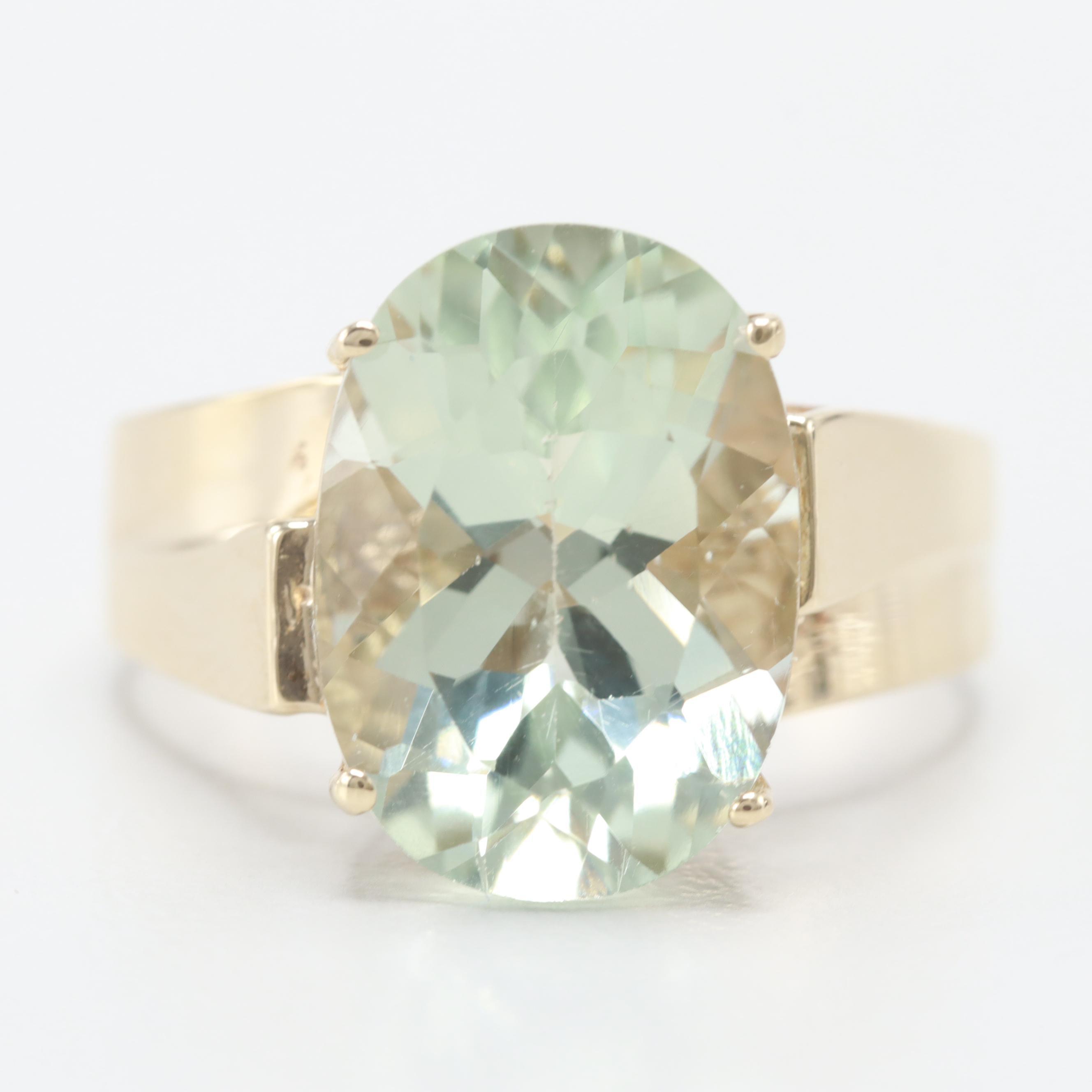10K Yellow Gold Praseolite Ring