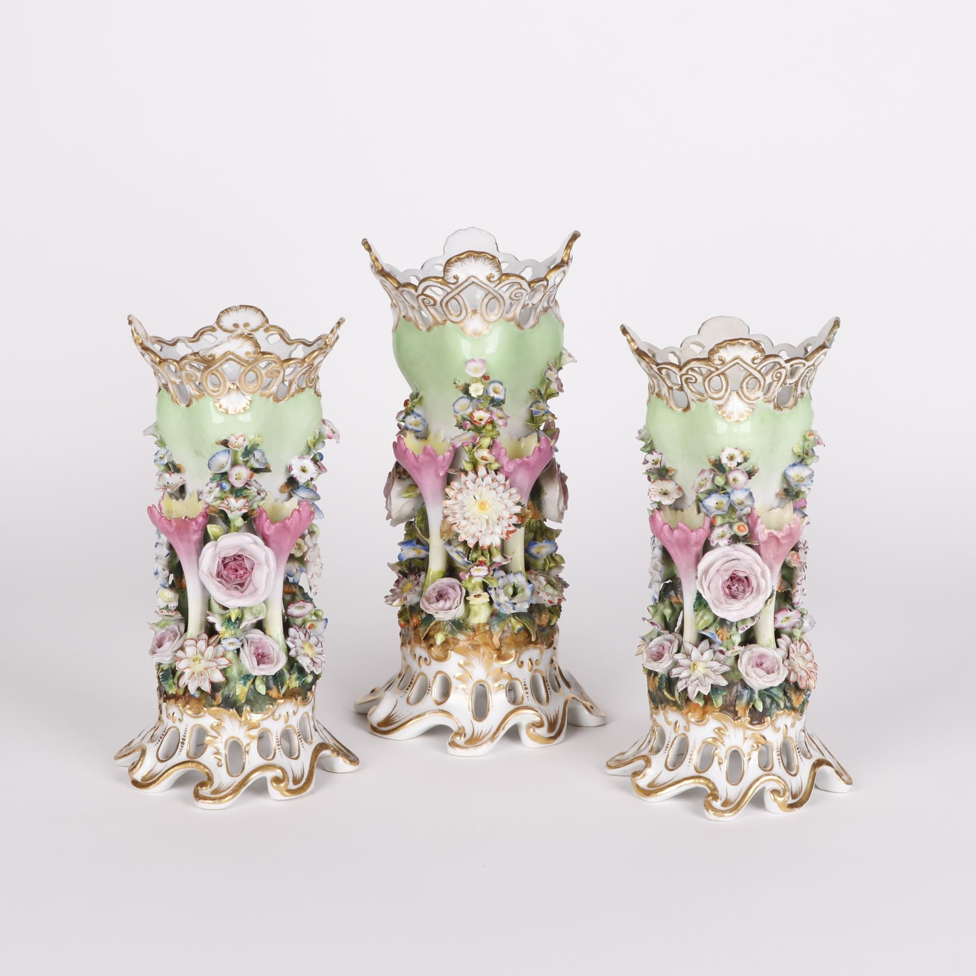 Jacob Petit Flower Encrusted Reticulated Porcelain Vases, 19th Century