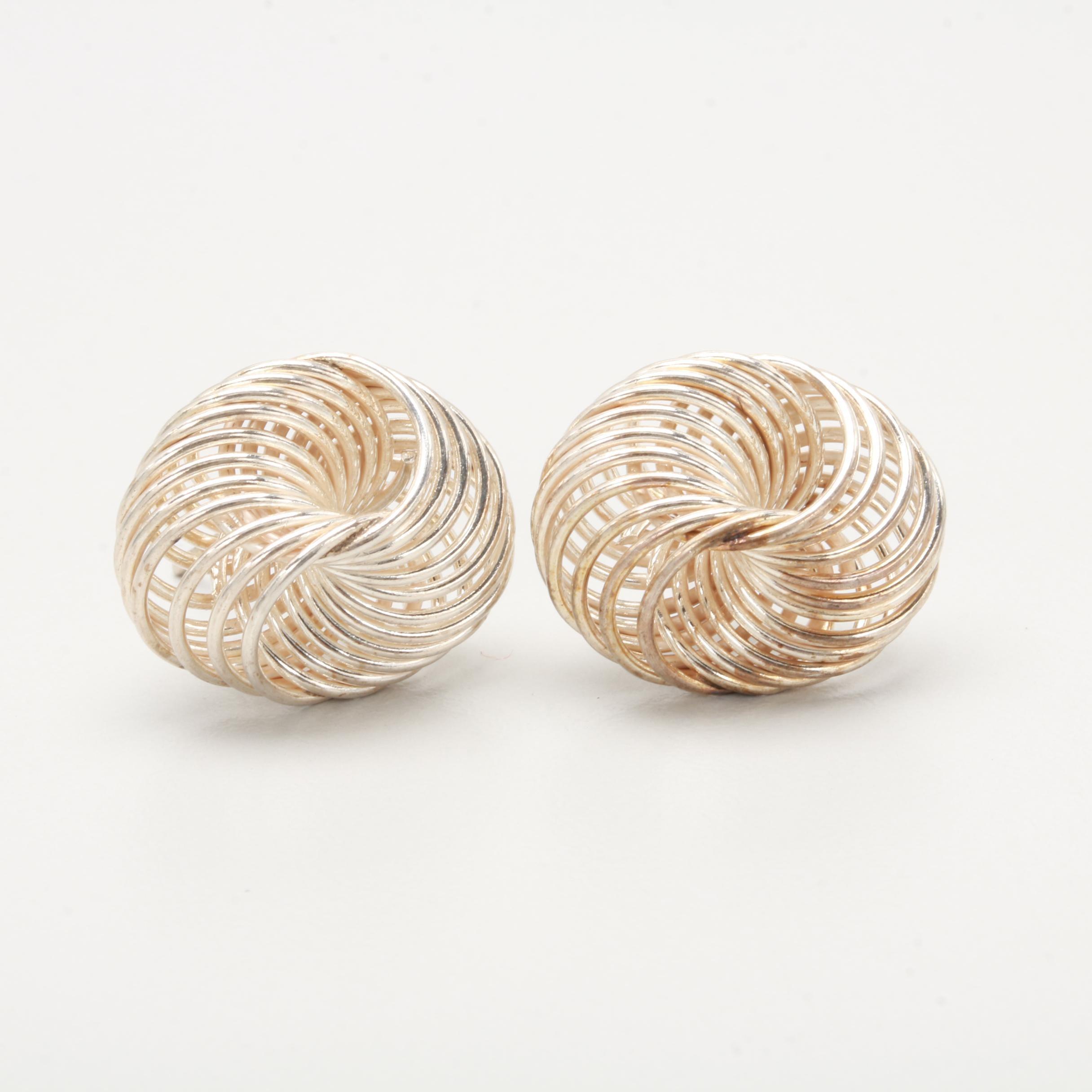 Sterling Silver Undulating Ring Pattern Earrings