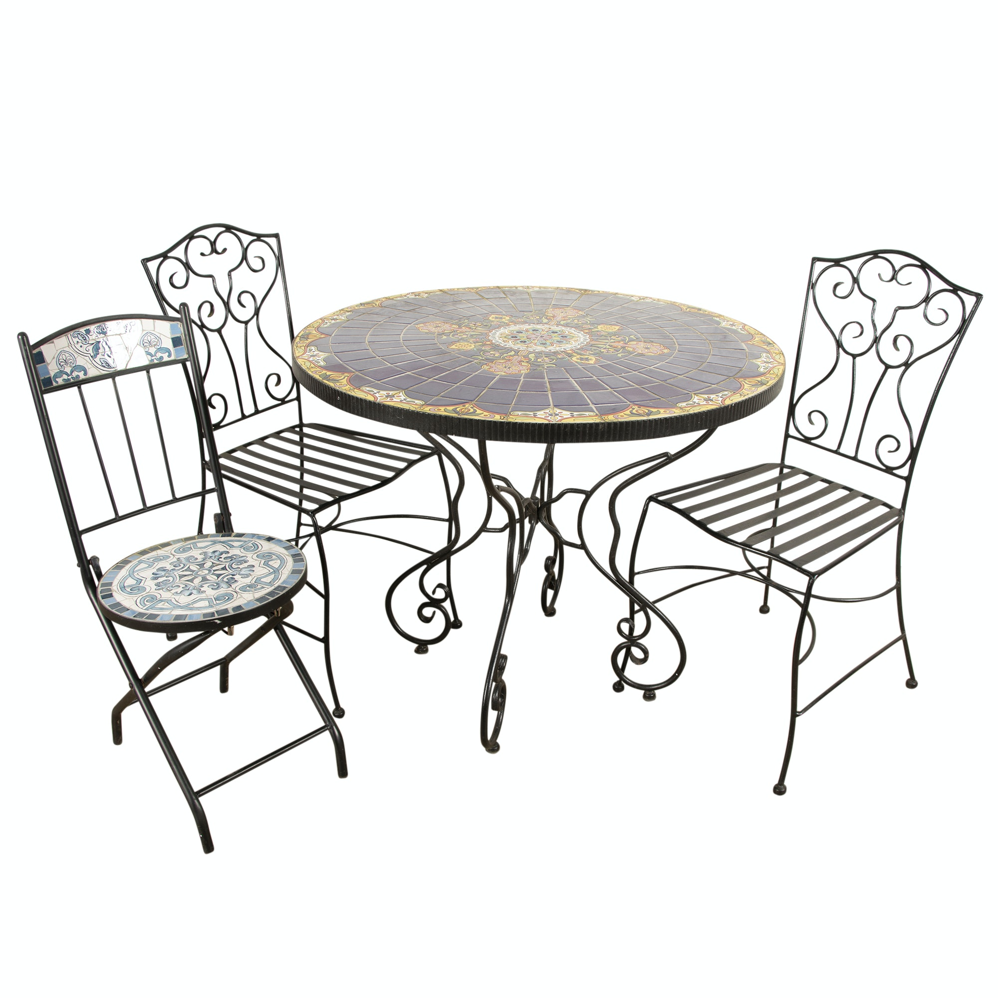 Ceramic and Metal Patio Table with Metal Chairs, 20th Century