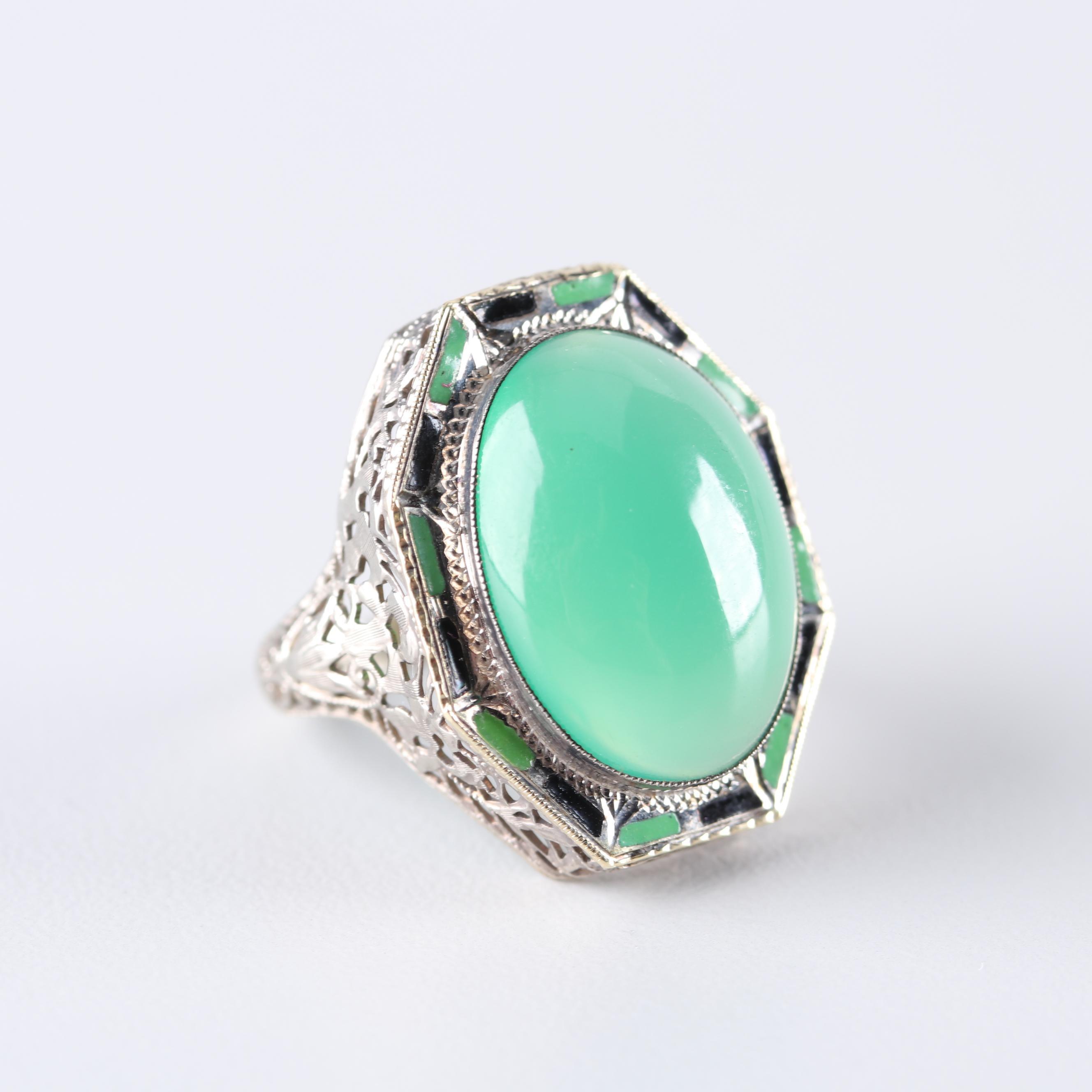 Edwardian 14K White Gold Chrysoprase Ring