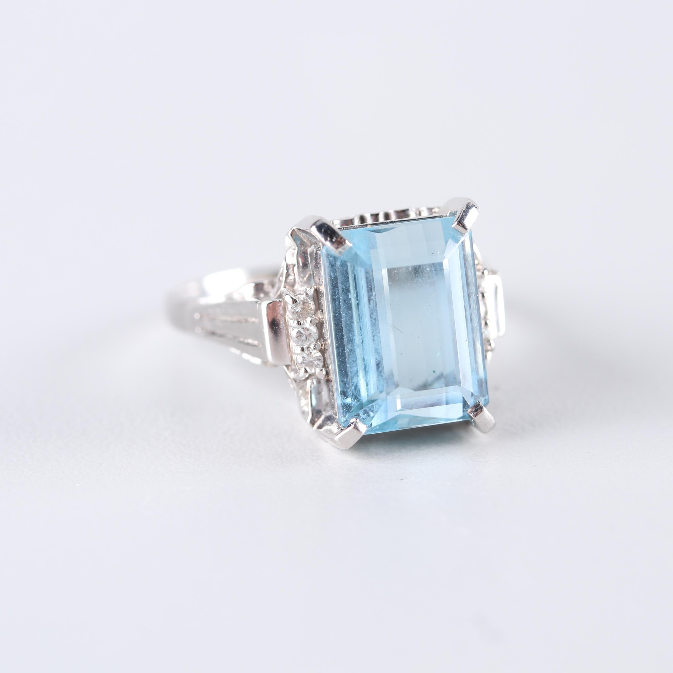 Platinum 5.82 CT Aquamarine and Diamond Ring