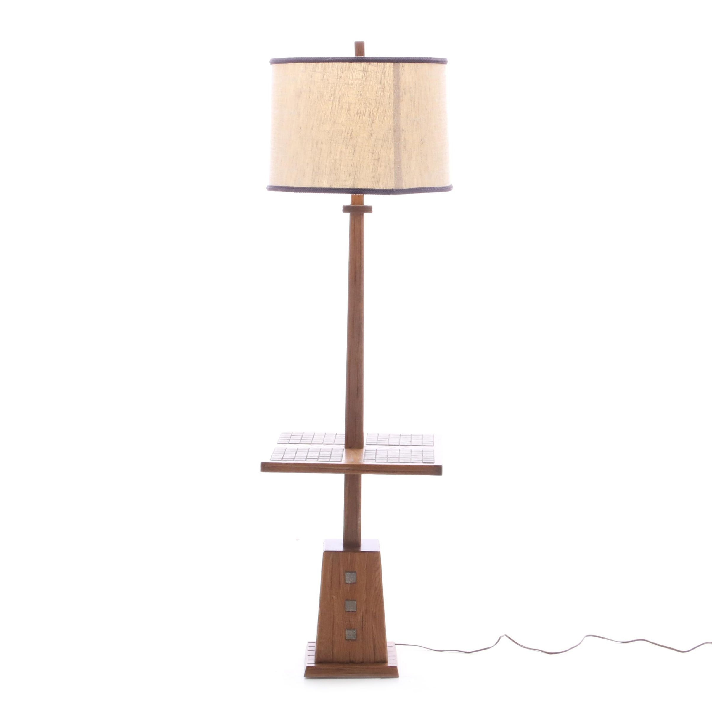 Contemporary Walnut and Tile Top Table Lamp