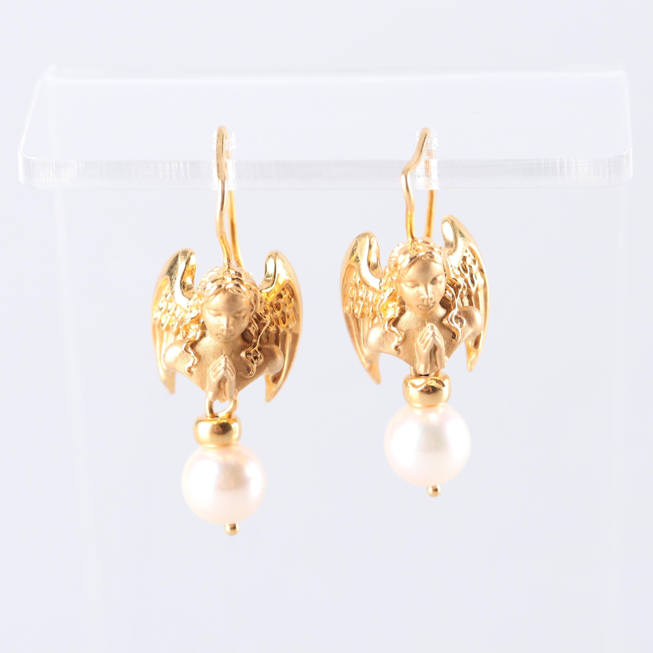 14K Yellow Gold Angel Akoya Cultured Pearl Earrings