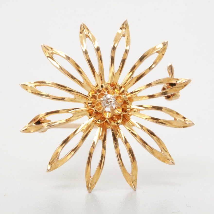 Vintage 10K Yellow Gold Diamond Brooch