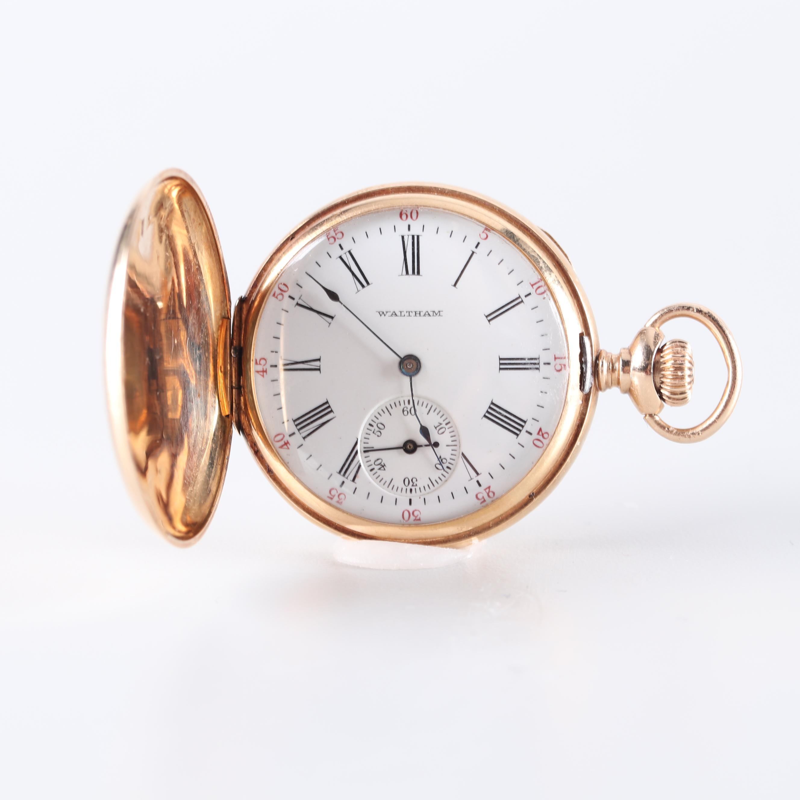 Waltham 14K Yellow Gold and Diamond Accented Pocket Watch, 1909