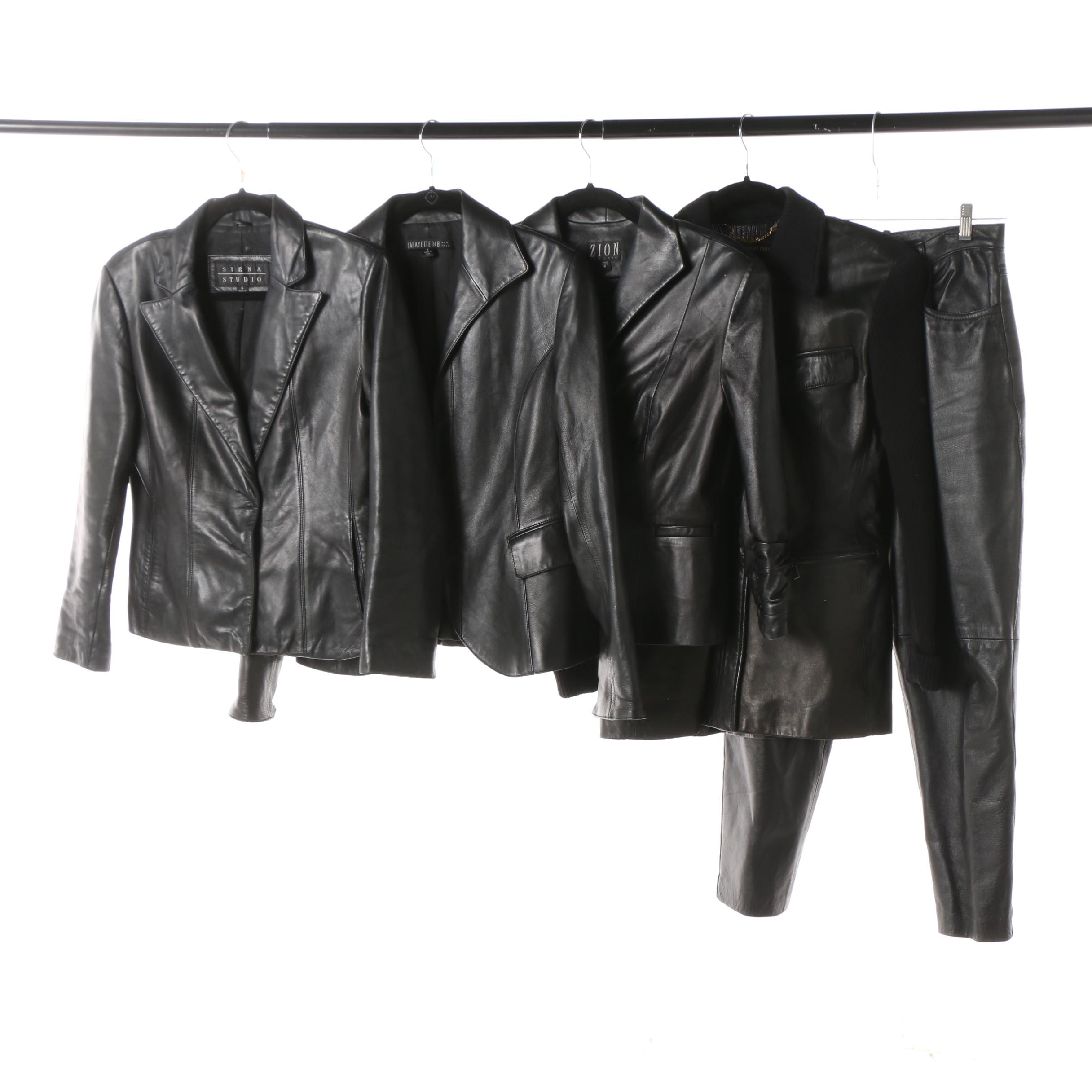 Women's Black Leather Jackets and Pants Including Lafayette 148 New York