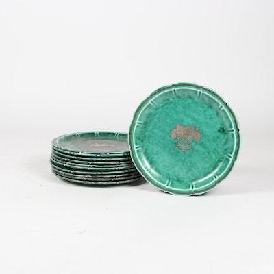 Gustavsberg Argenta Silver Inlaid Turquoise Stoneware Plates