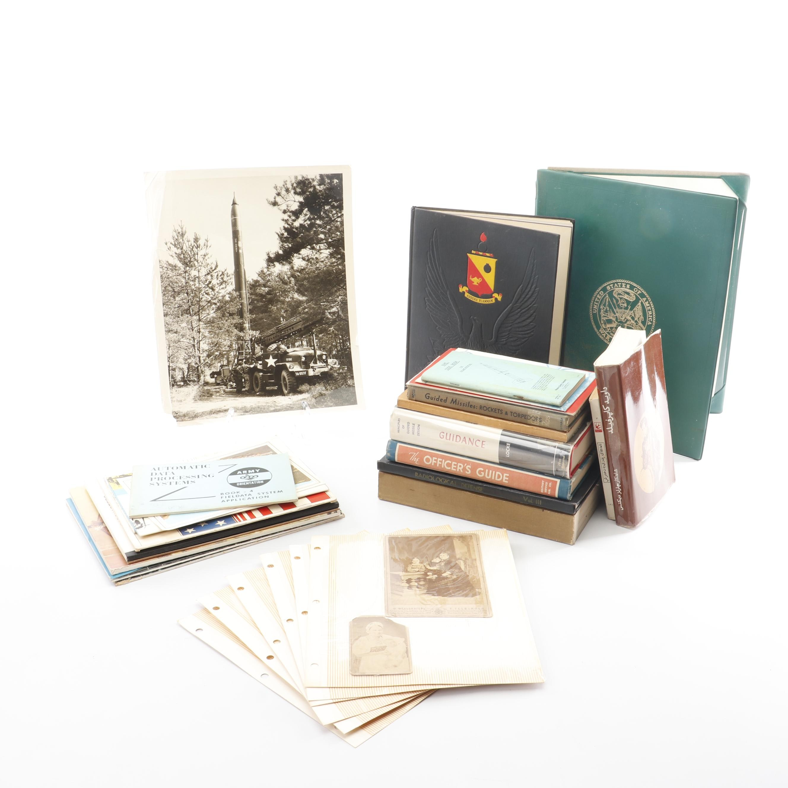 Vintage Books on Military, Missiles, and Ephemera including Antique Photos