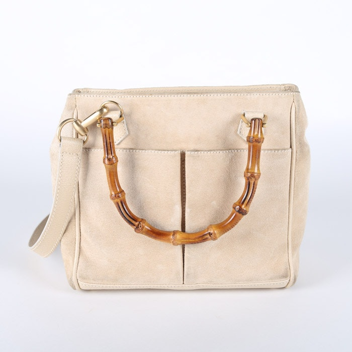 Gucci Light Tan Suede Satchel with Bamboo Handles