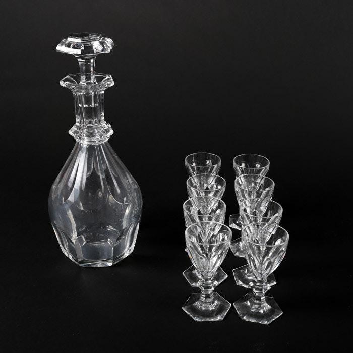"Baccarat ""Harcourt"" Liqueur Glasses and Decanter"