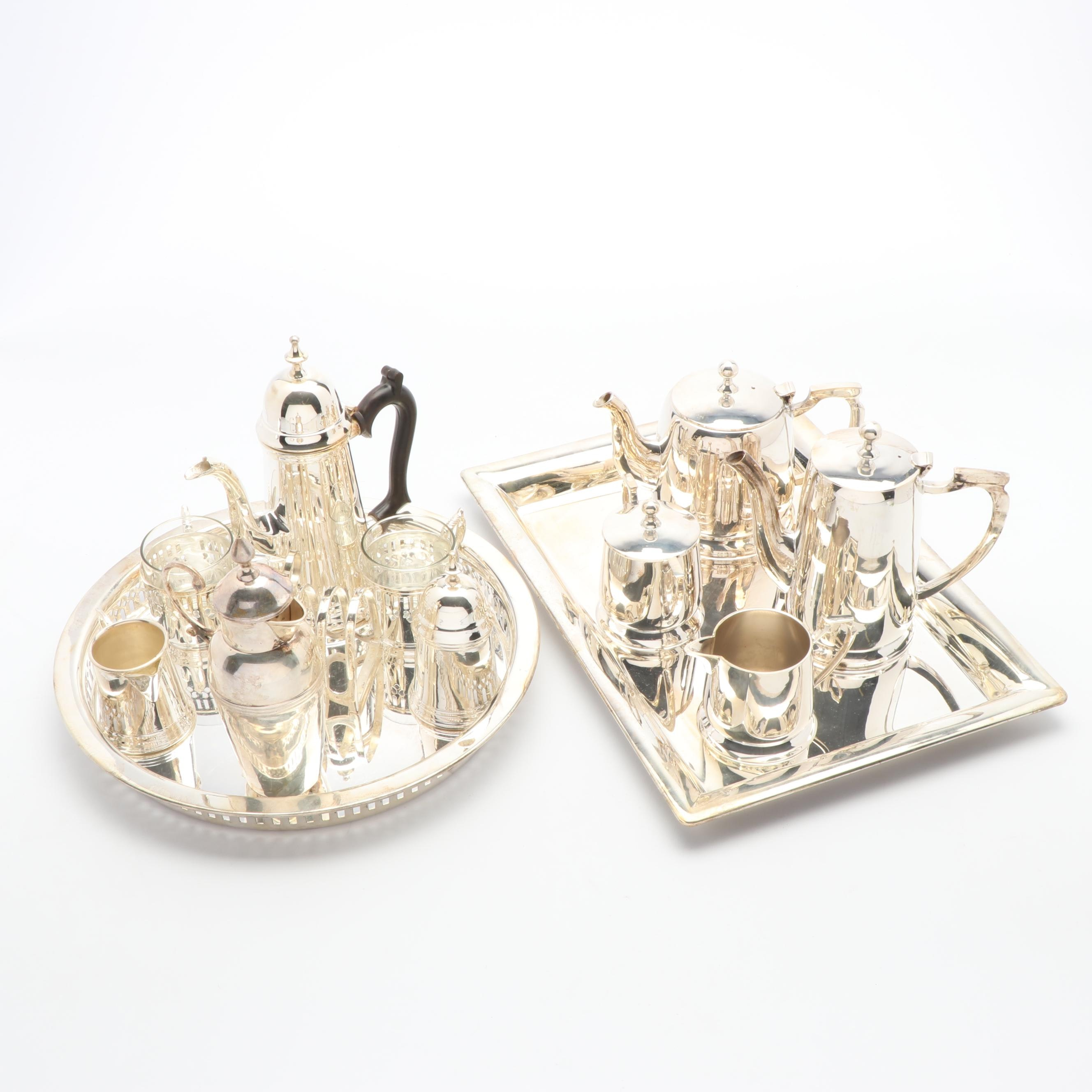 Silver Plate Tea Set with Godinger Tray, International Coffee Pot, and More