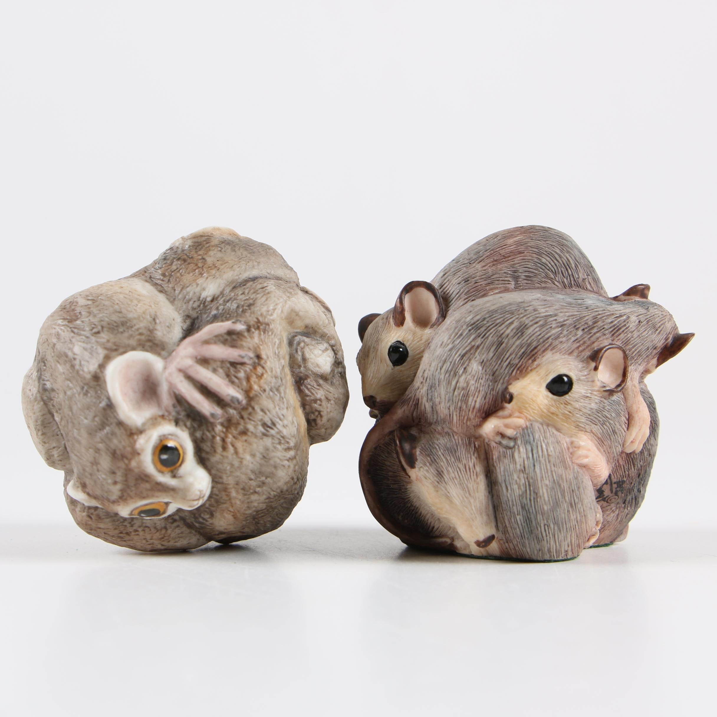 Boehm Porcelain Lemur and Resin Mouse Figurine