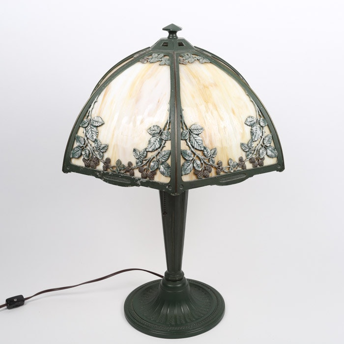 Bradley and Hubbard Slag Glass Table Lamp with Metal Overlay