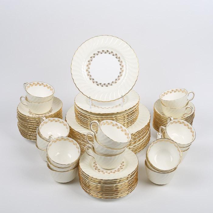 "Vintage Minton ""Gold Cheviot"" Bone China Dinnerware c. 1941-75"