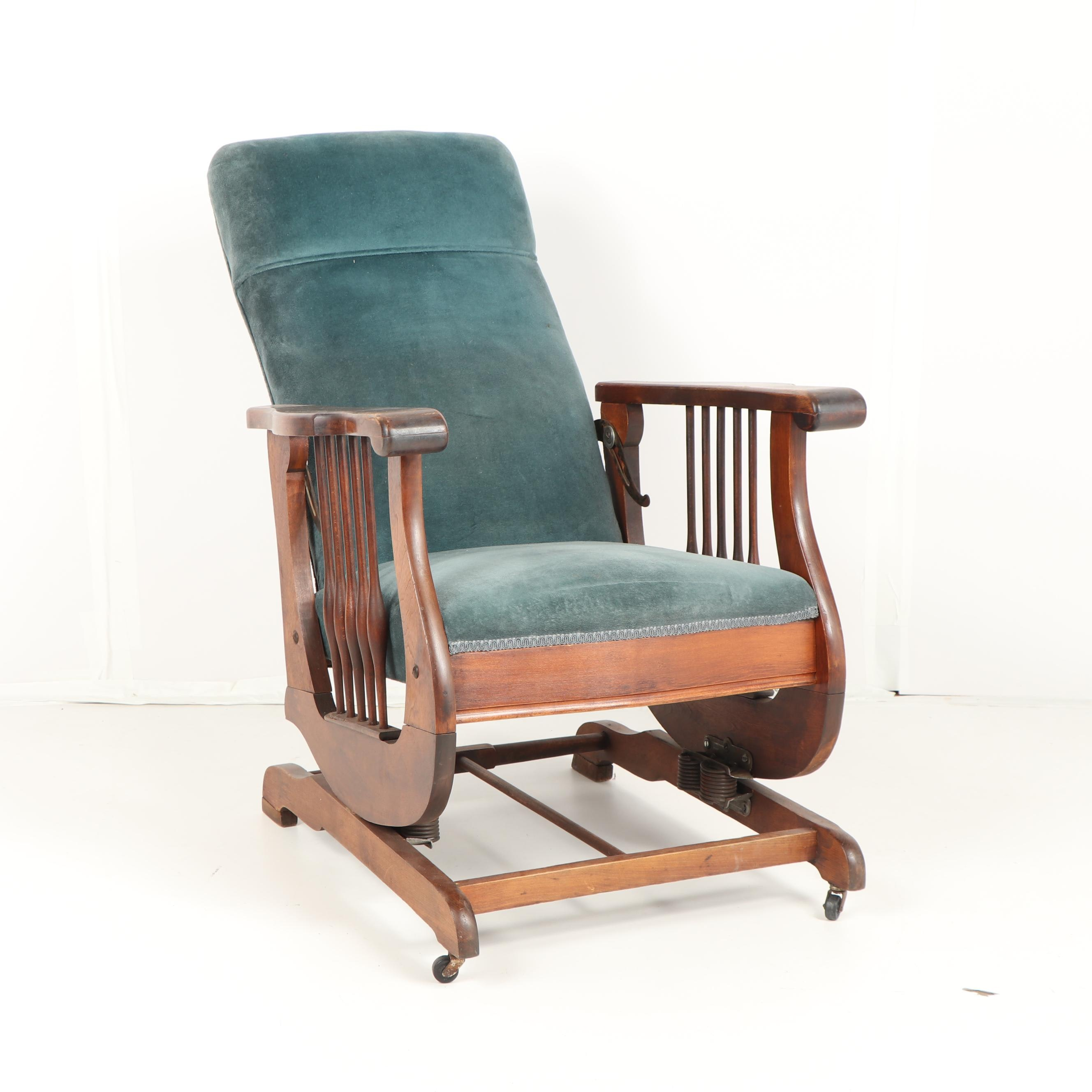 Oak Reclining Rocking Chair, Early- Mid 20th Century