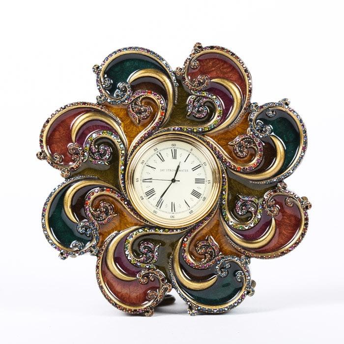 "Jay Strongwater ""Paisley Swirl"" Desk Clock by Pasha Edward"