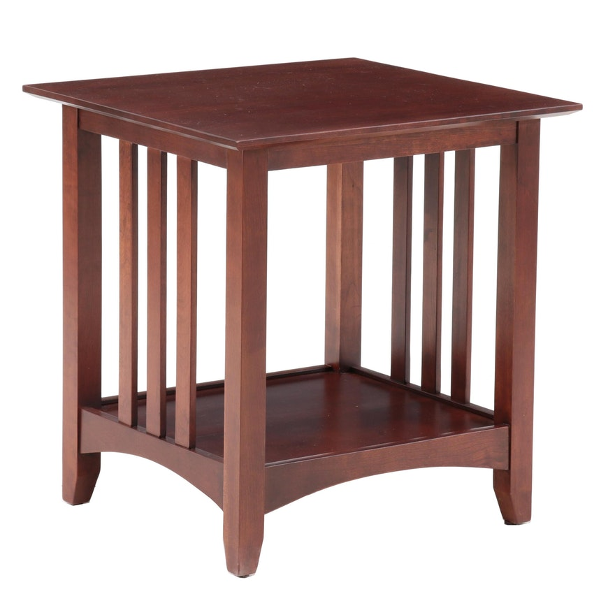 Mission Style Mahogany Veneer End Table Late 20th Century