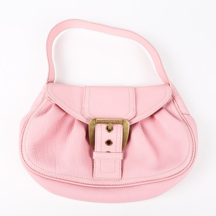 Céline Pebbled Pink Leather Top Handle Handbag
