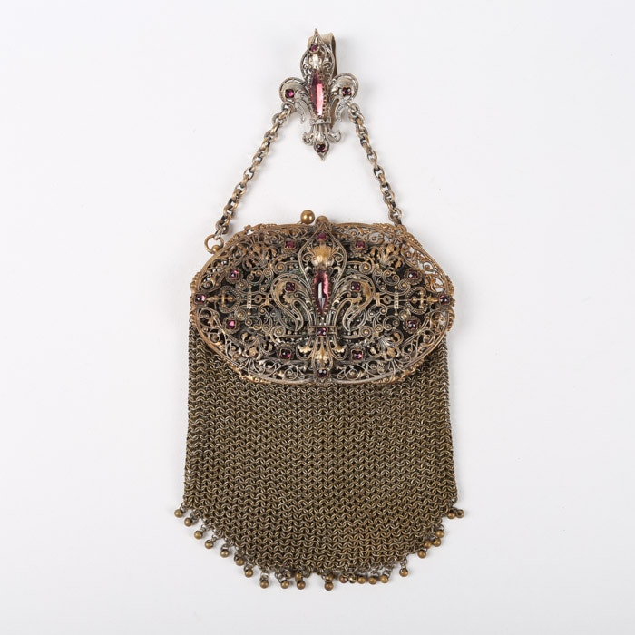 Circa 1900 Mesh Chatelaine Bag Embellished with Faceted Cut Purple Glass