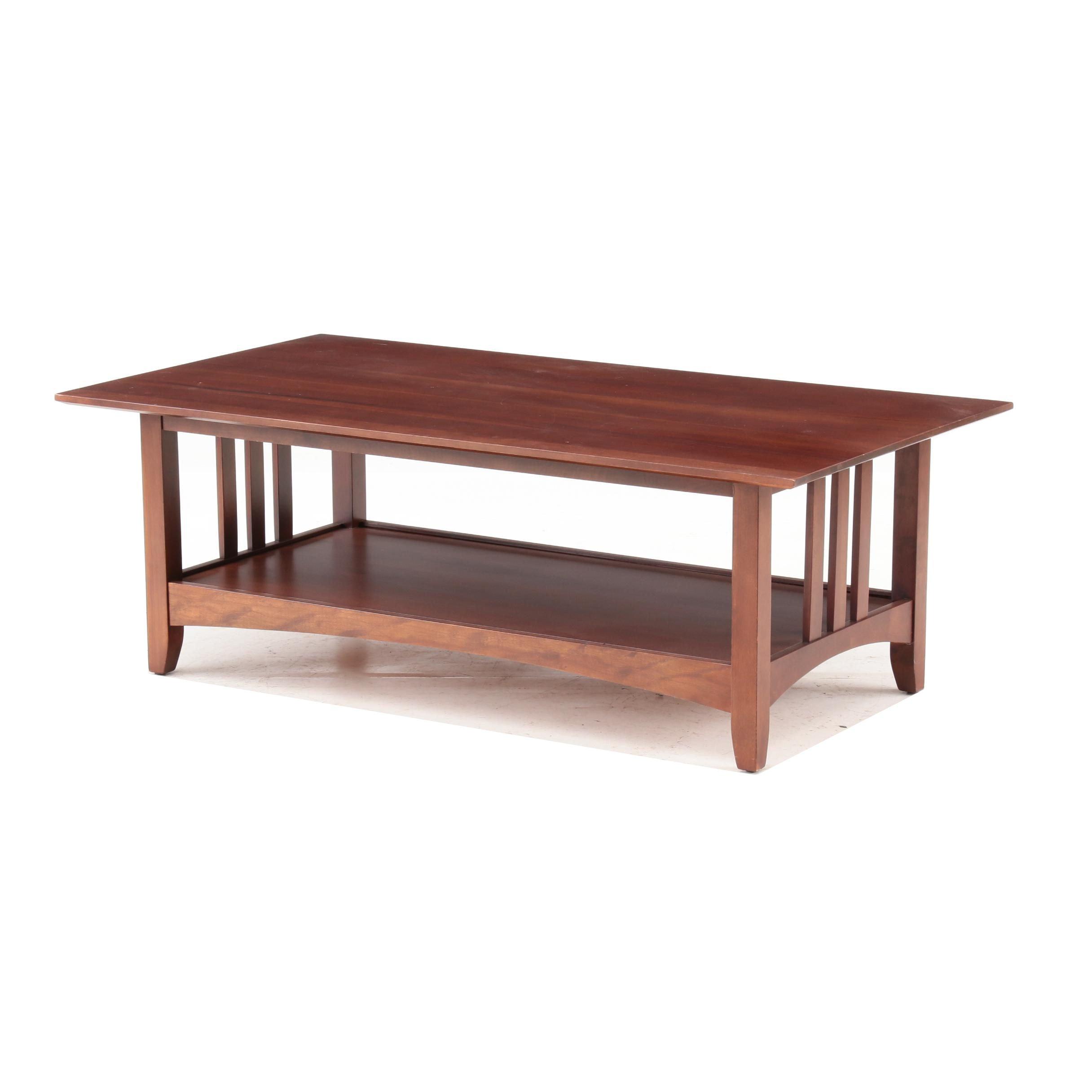 Mission Style Mahogany Veneer Coffee Table, Late 20th Century