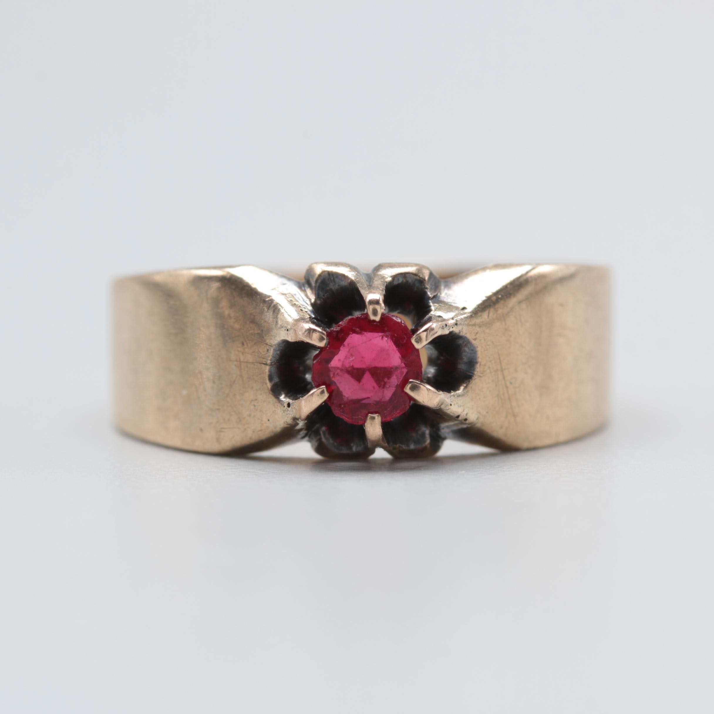 Vintage 10K Yellow Gold Glass Ring
