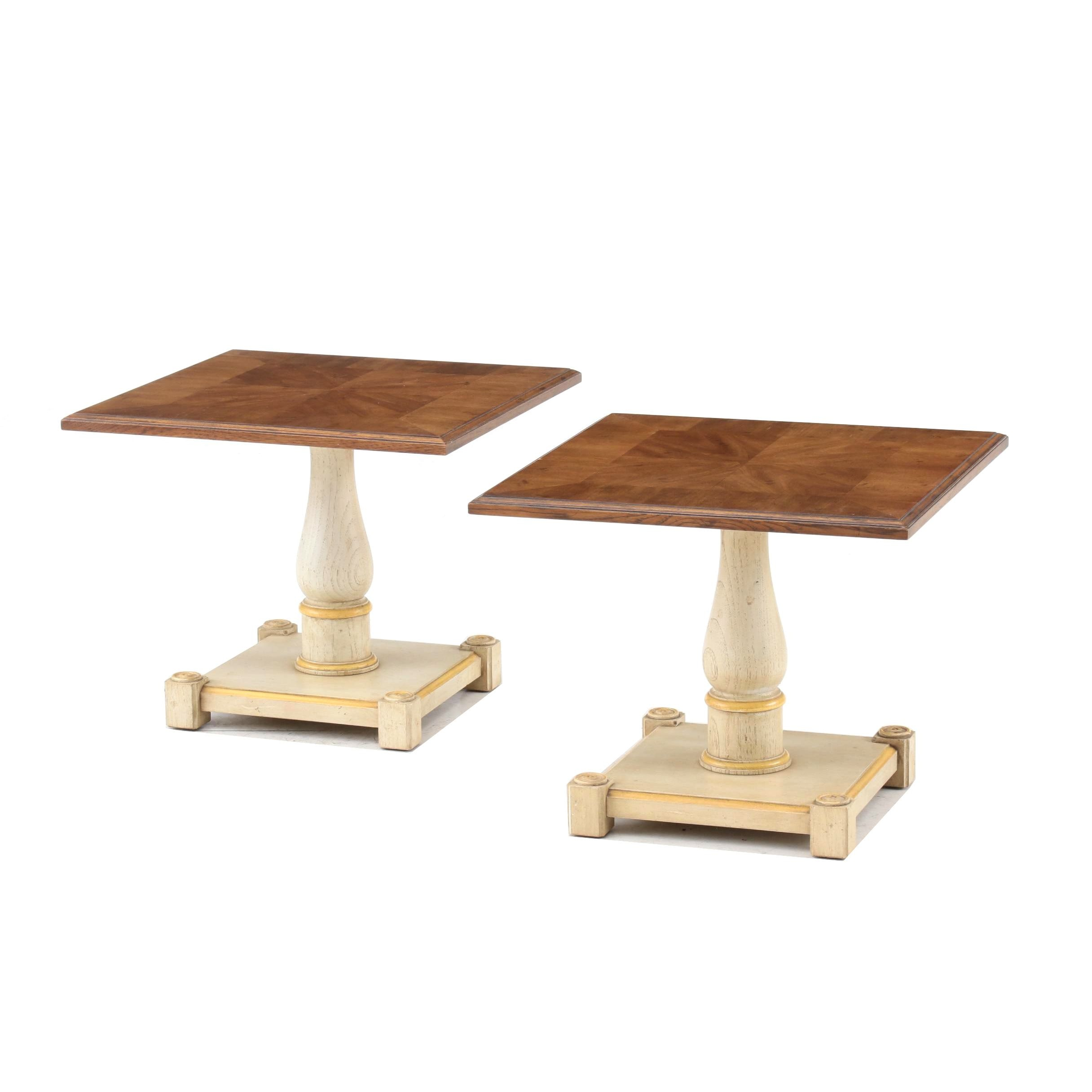 French Provincial Style Painted Wood and Walnut End Tables, Mid-20th Century