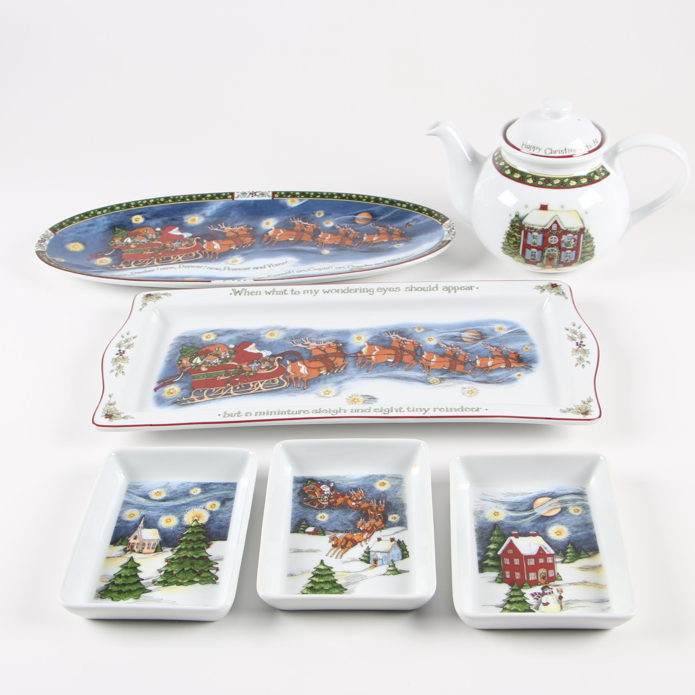 "Portmeirion ""Christmas Story"" Porcelain Teapot and Serveware"