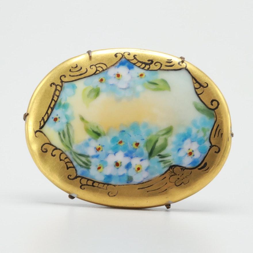 Vintage Porcelain Painted Enameled Brooch