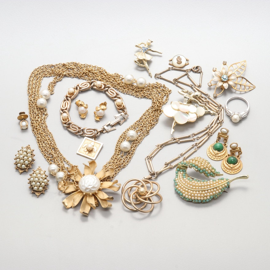 95697d95d44 Assortment of Vintage Costume Jewelry with Imitation Pearl and Gemstone ...
