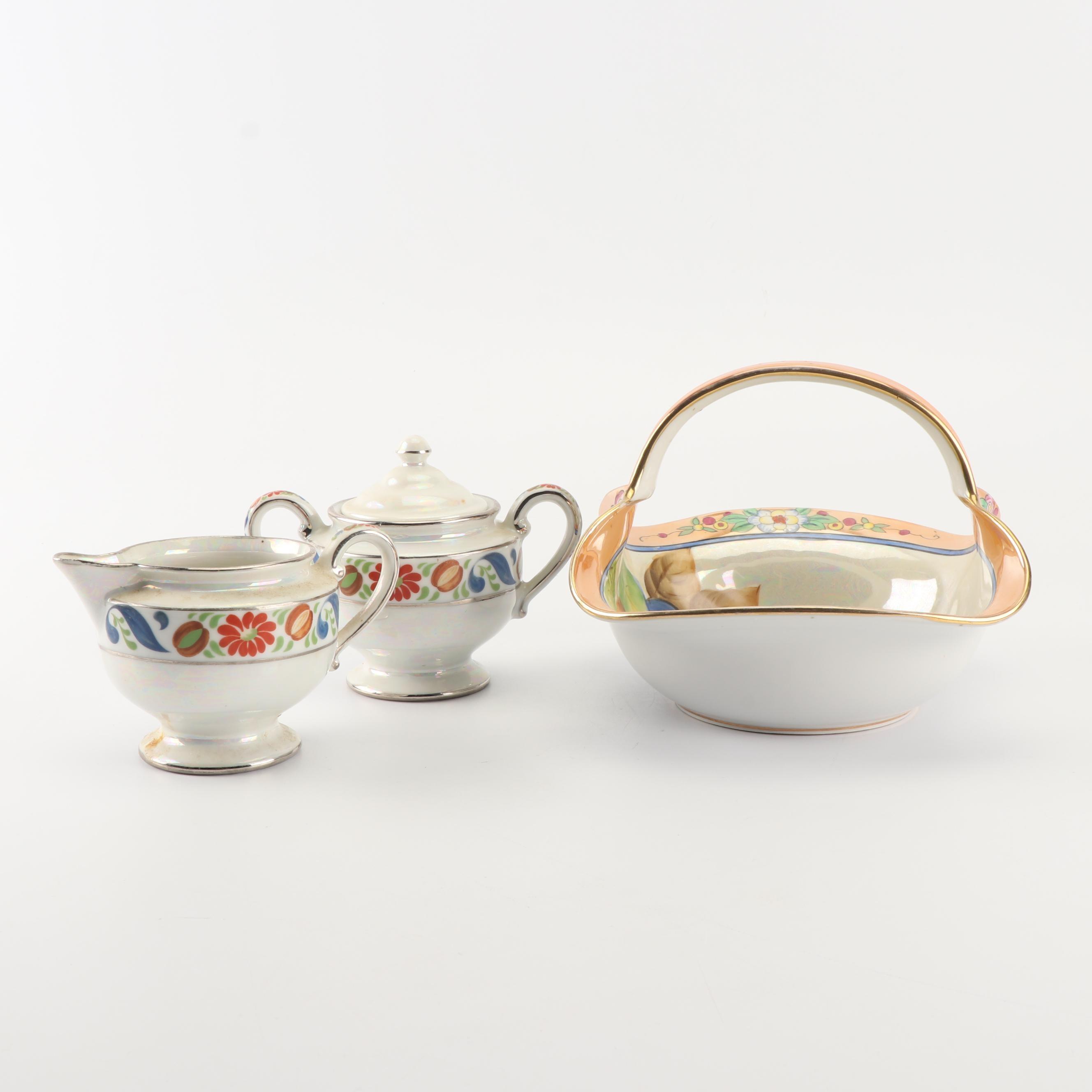 Vintage Lusterware Porcelain Including Hand-Painted Japanese Basket