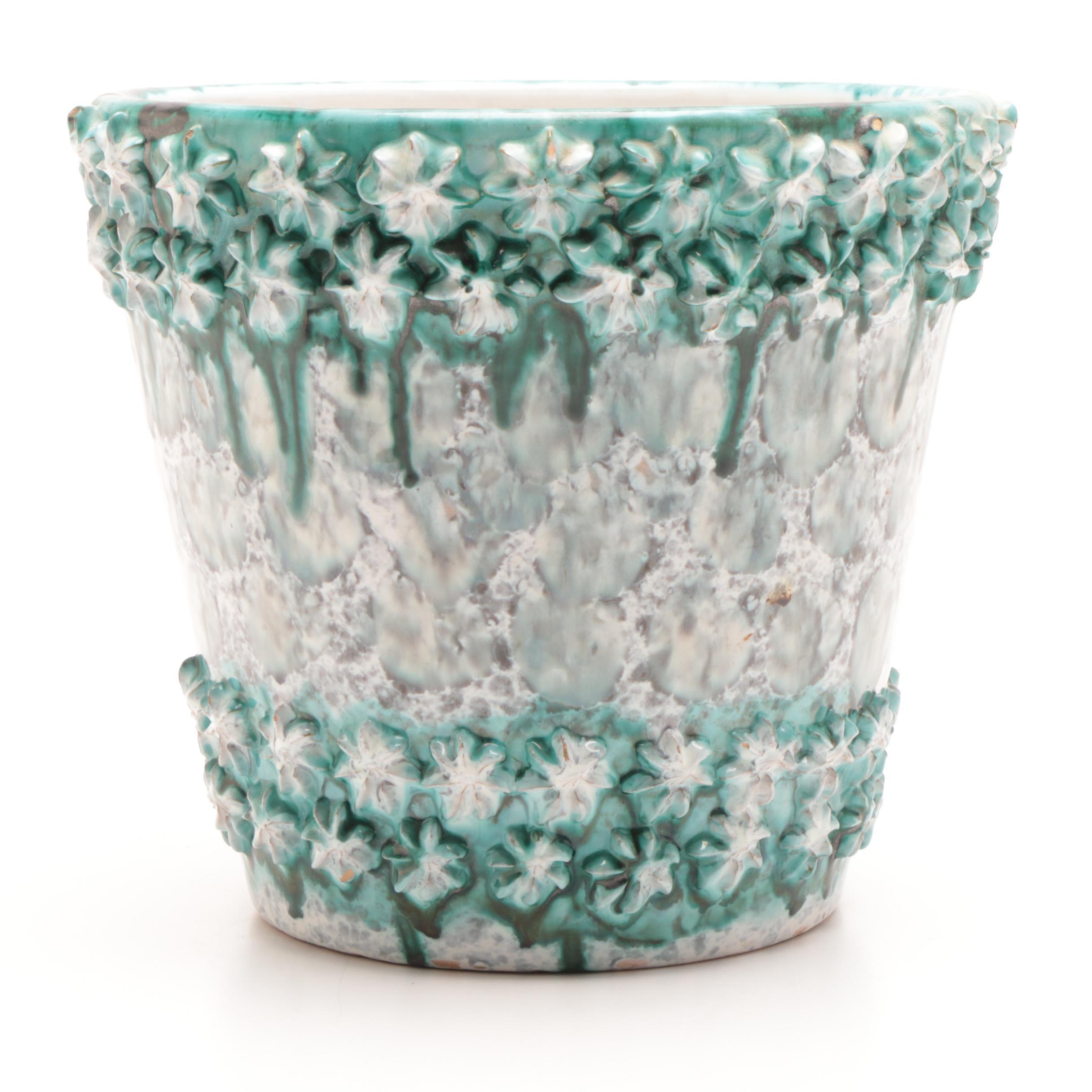 E & R Co Textured Finish Italian Pottery  Planter