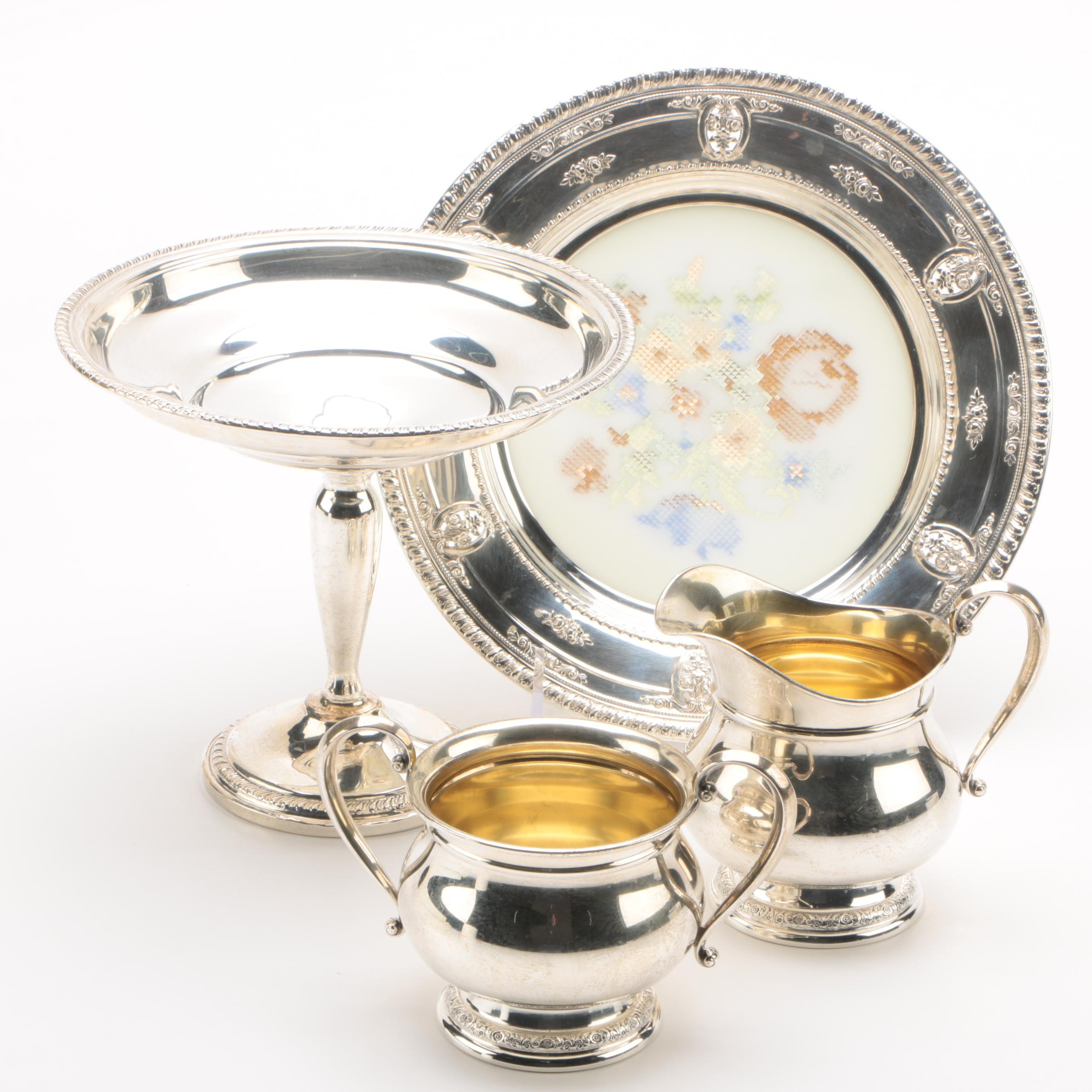 """Wallace """"Rose Point"""" Sterling Rimmed Crystal Dish with Sterling Serveware"""
