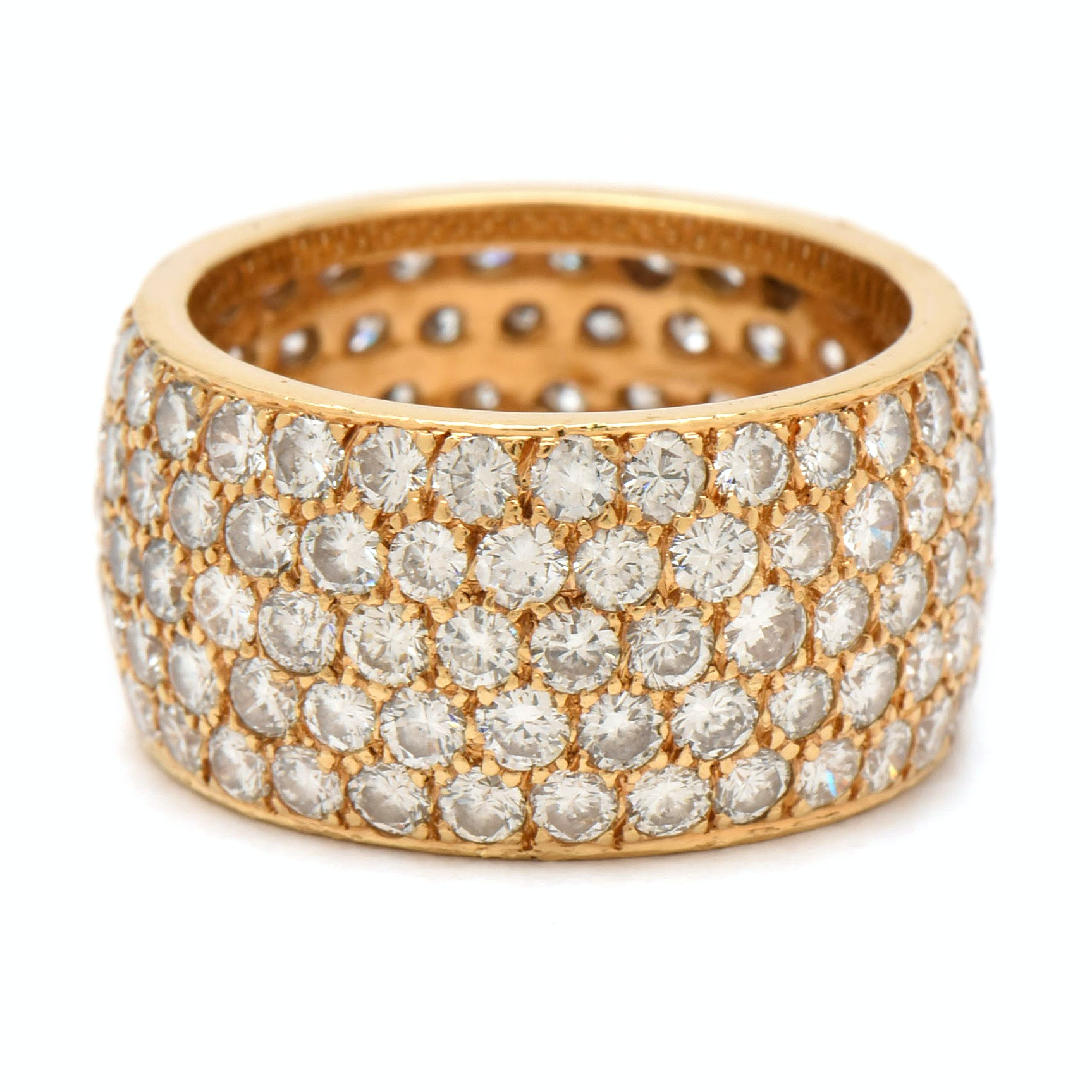 18K Yellow Gold 5.05 CTW Diamond Pavé Set Eternity Band Ring