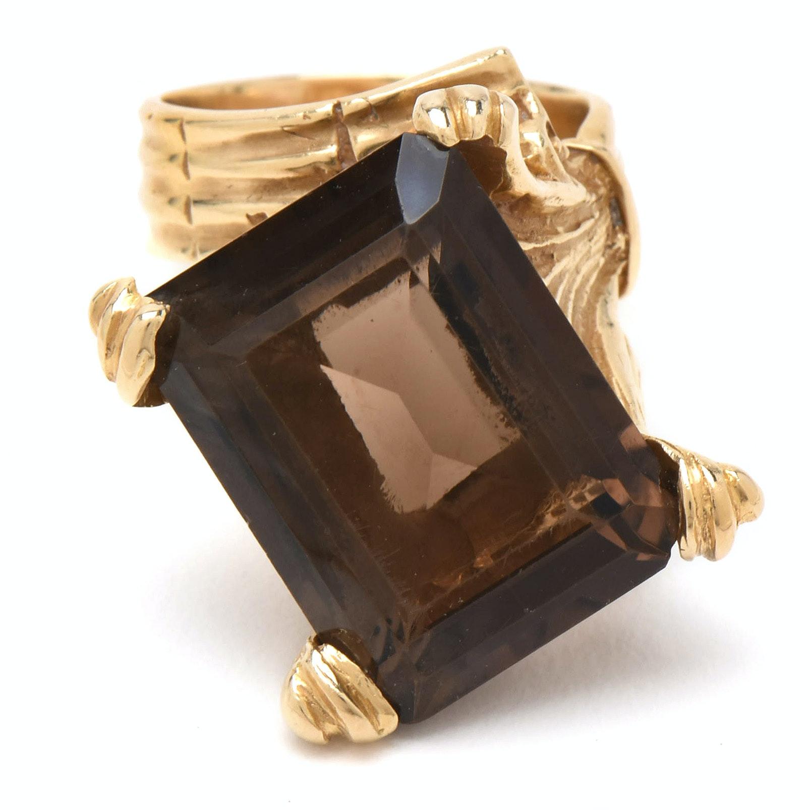 Vintage 14K Yellow Gold 18.72 CT Smoky Quartz Statement Ring