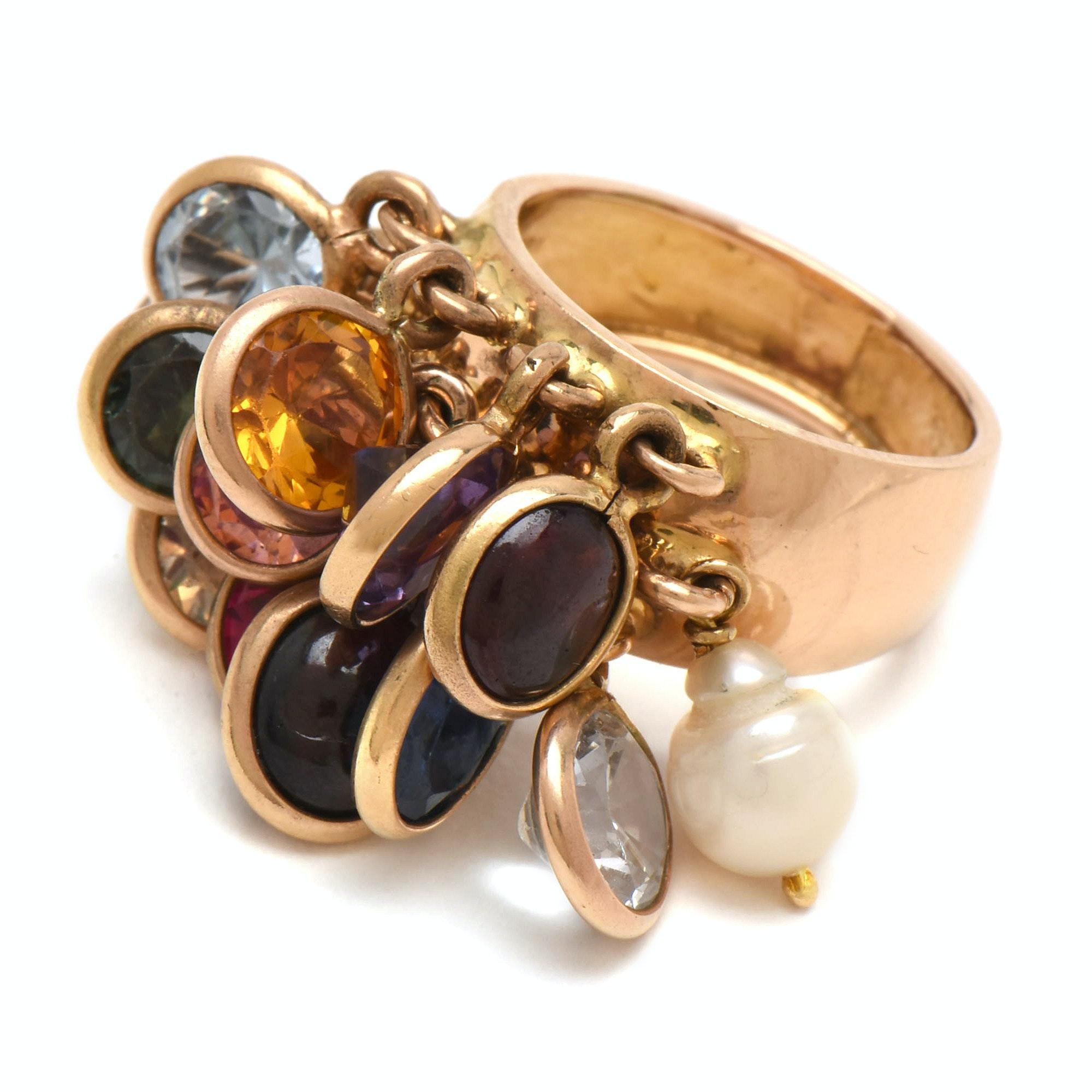 18K Yellow Gold Multiple Gemstone Charm Ring