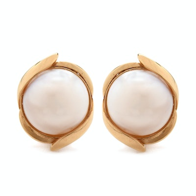 14K Yellow Gold Cultured Mabe Pearl Omega Back Earrings