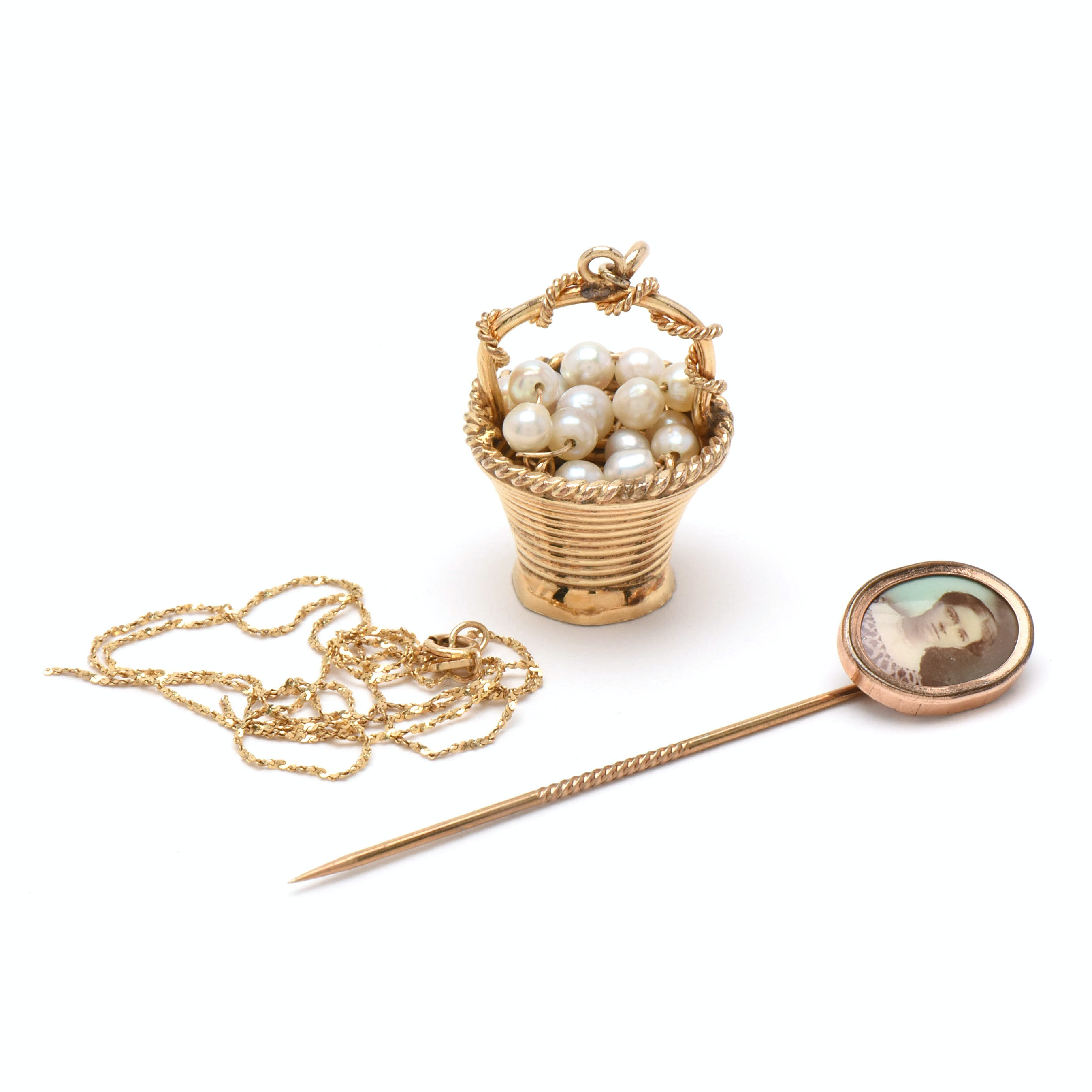 14K Yellow Gold Scrap Necklace, Gold-Filled Cultured Pearl Basket, and Stick Pin