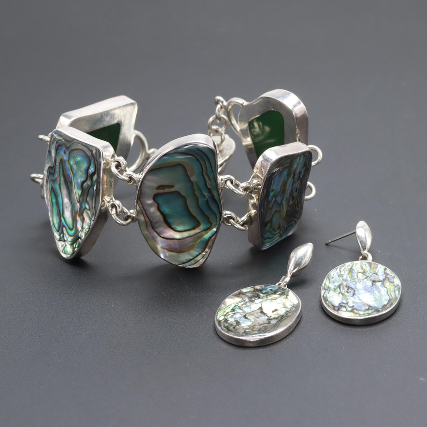 Mexican Sterling Silver Abalone Bracelet and Earrings