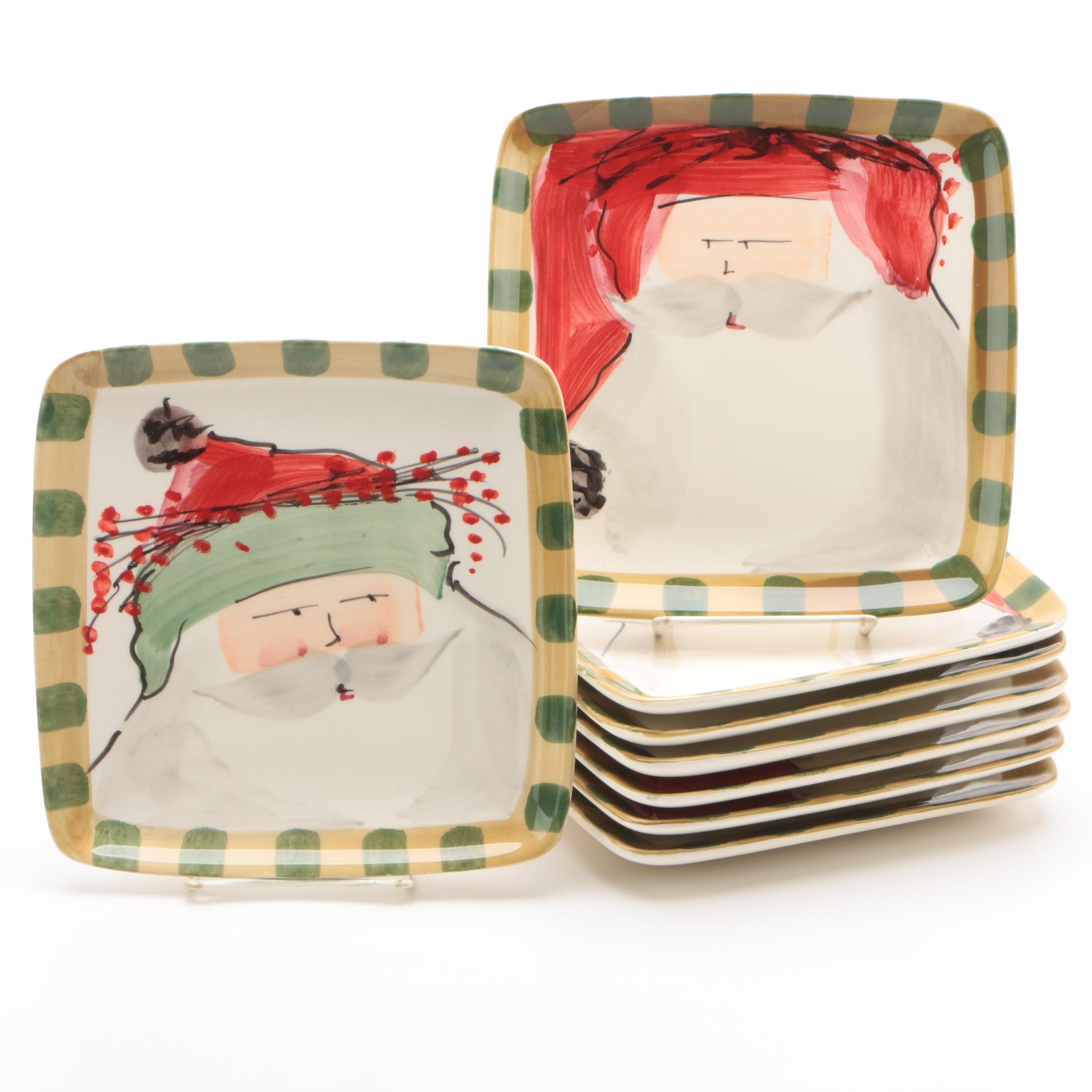 """Vietri """"Old St. Nick"""" Earthenware Square Plates"""