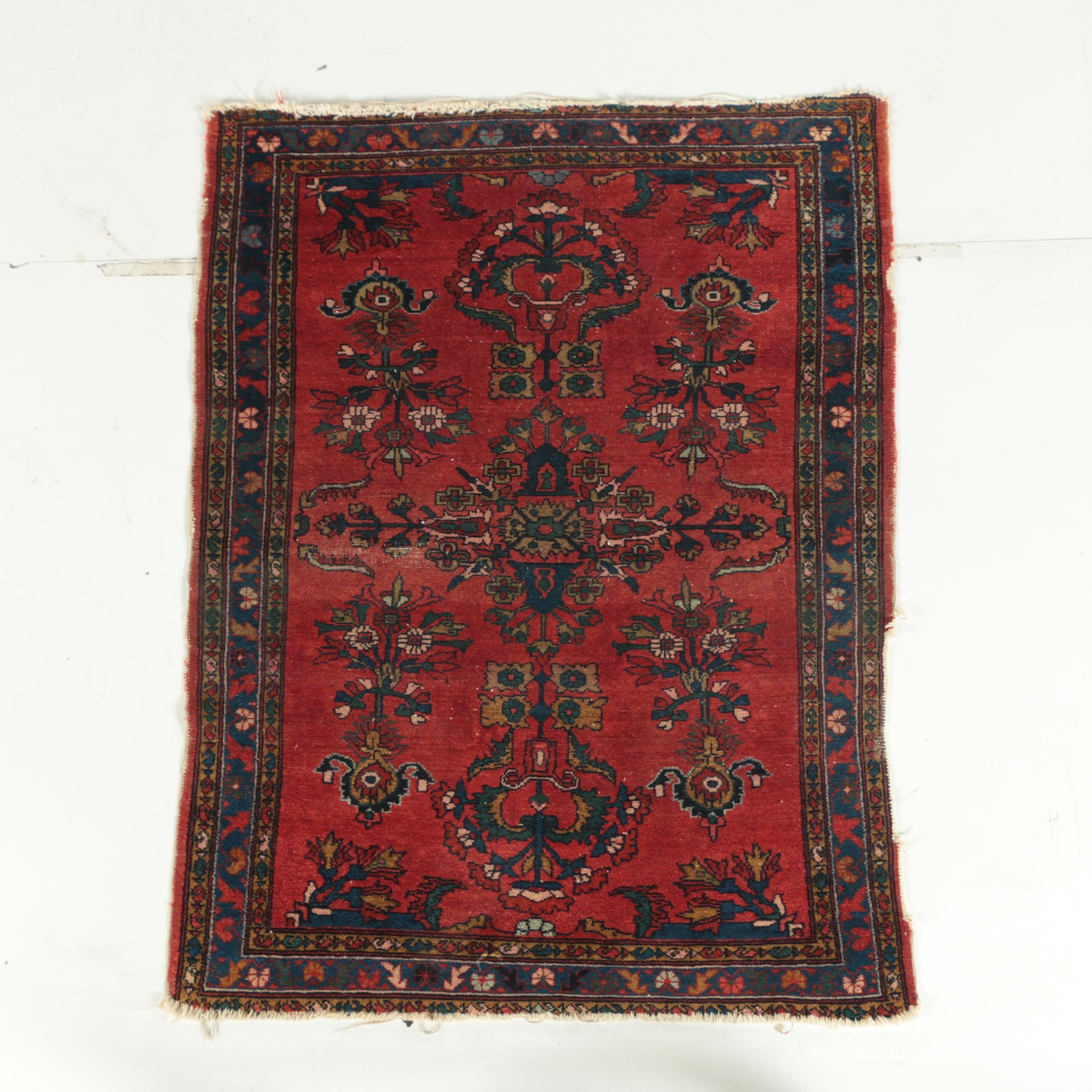 Hand-Knotted Persian Hamadan Wool Accent Rug