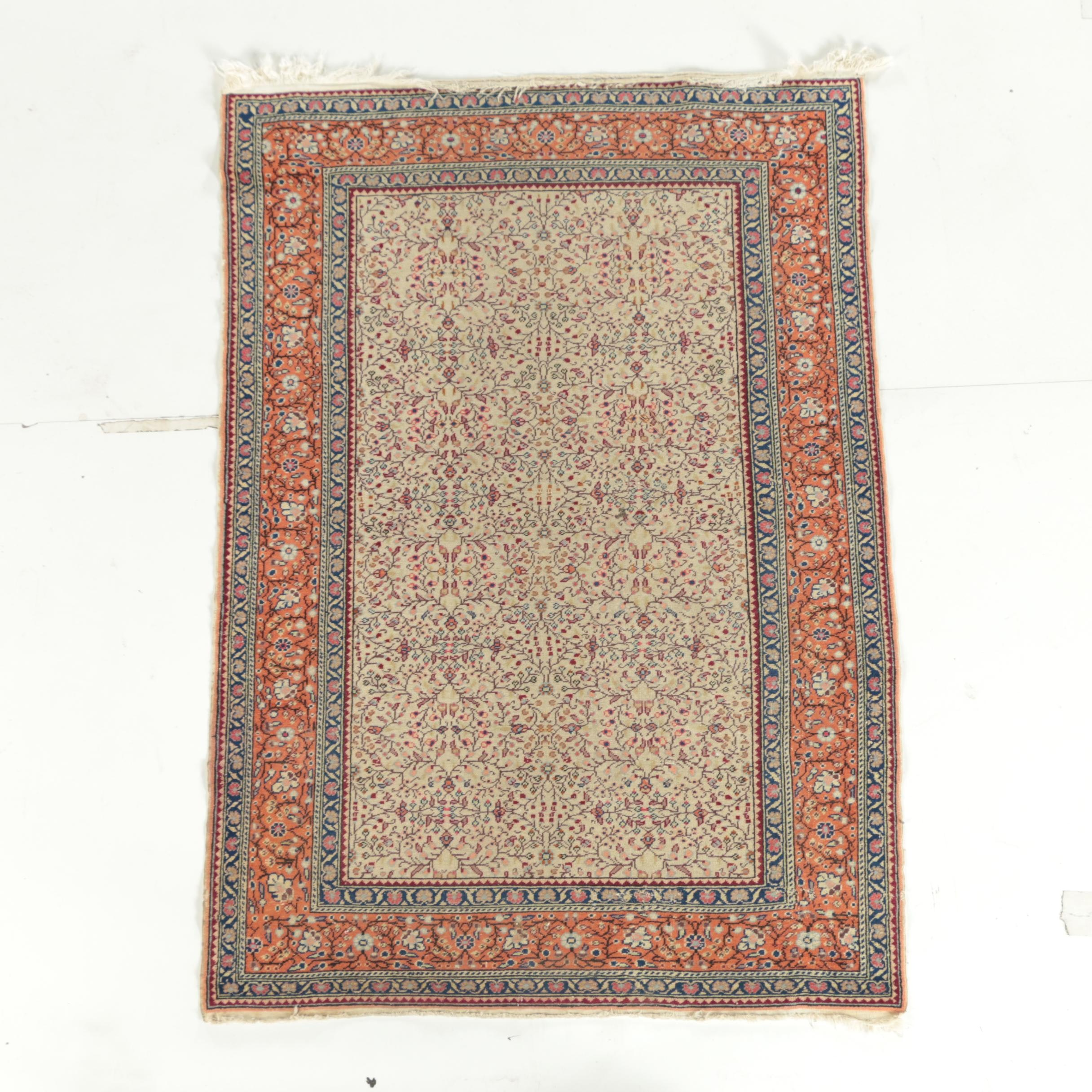 Hand-Knotted Turkish Kayseri Wool Rug