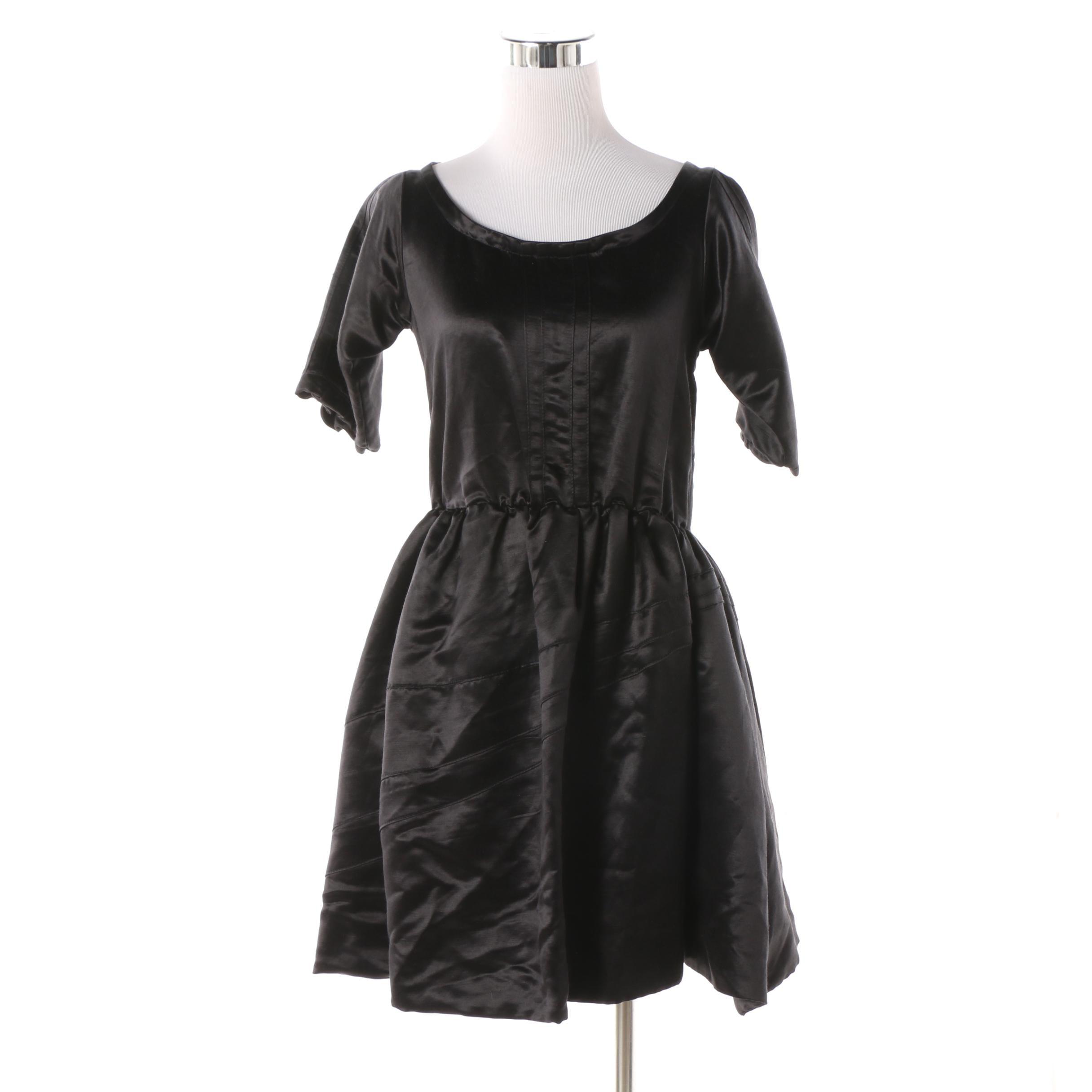 Lara Miller of Chicago Black Hemp Silk Blend Open Back Dress