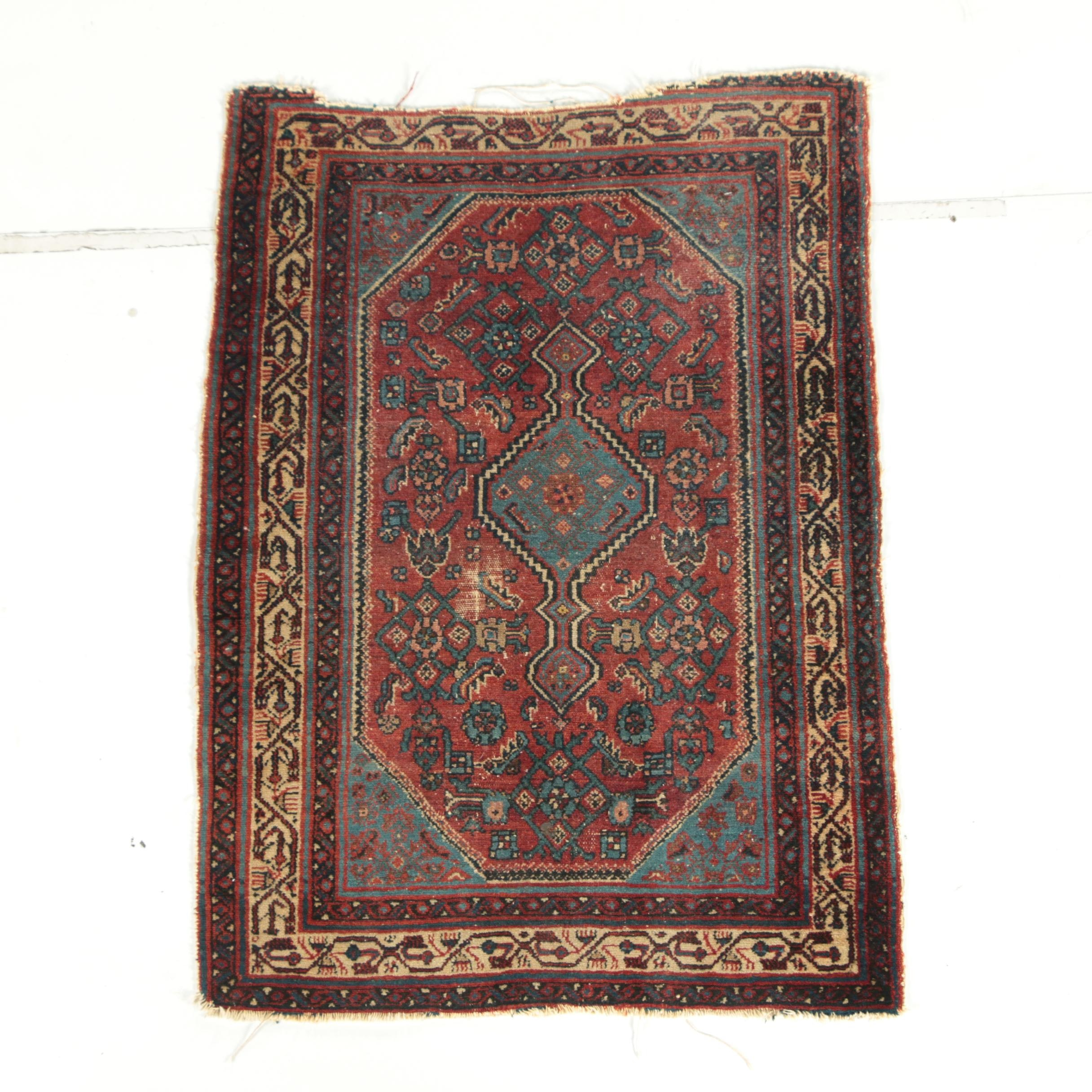 Semi-Antique Hand-Knotted Persian Bijar Wool Rug