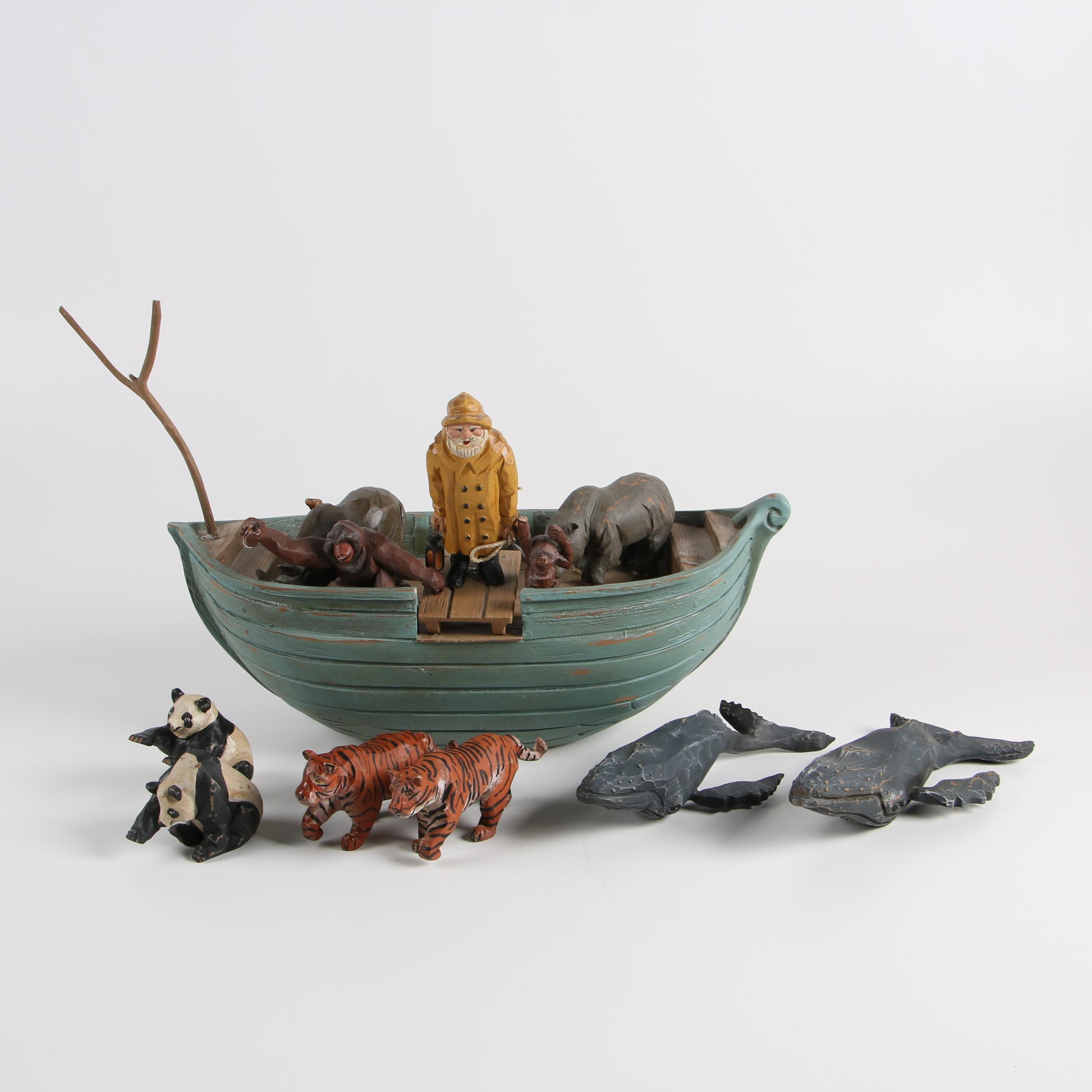 Carved Wood Limited Edition Fisherman with Boat and Animal Figurines