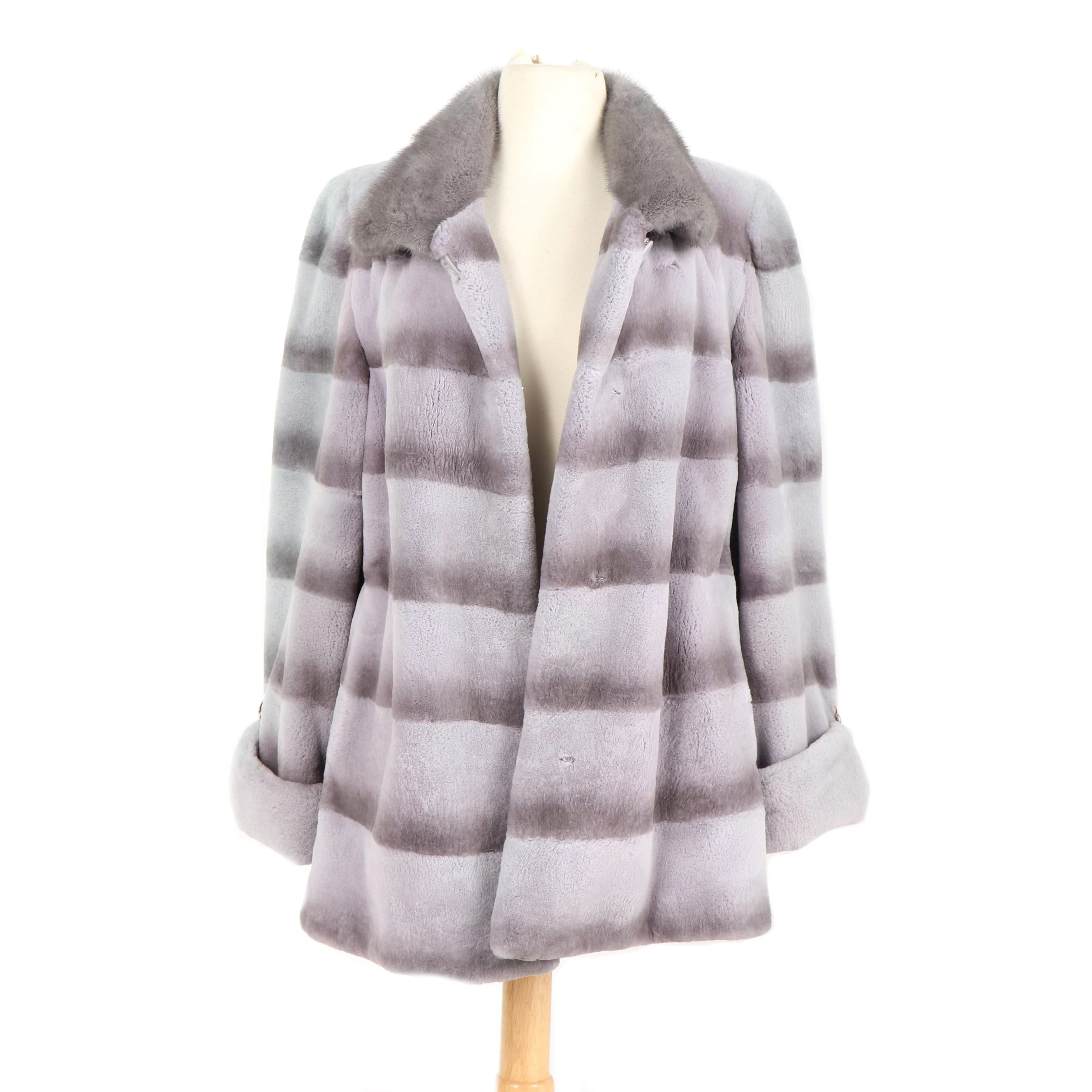 Dyed Sheared Rex Rabbit Fur Jacket with Mink Fur and Python Snakeskin Bands