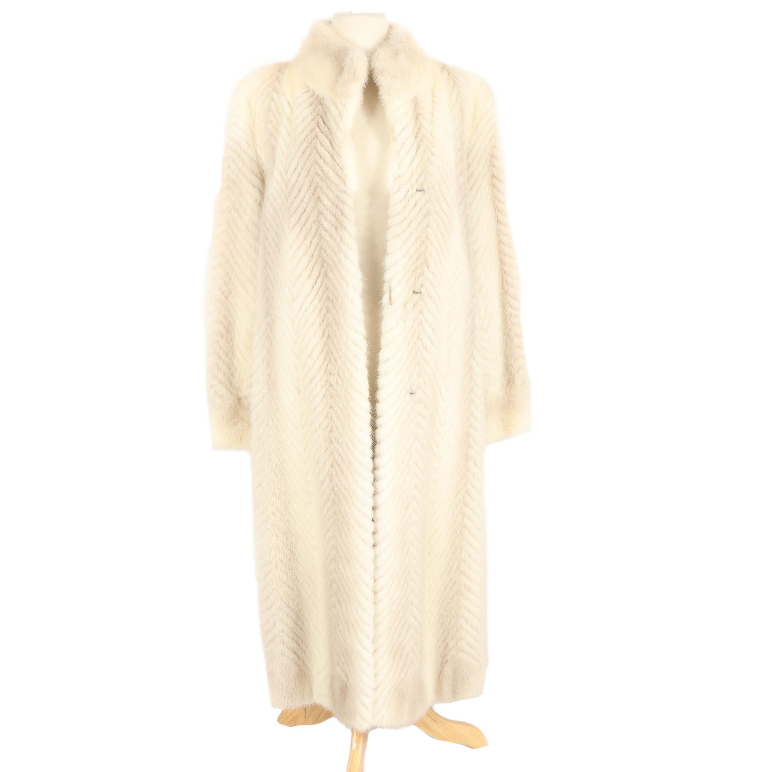 Vintage Amoress Furmakers Chevron Saga Tourmaline Mink Fur Coat