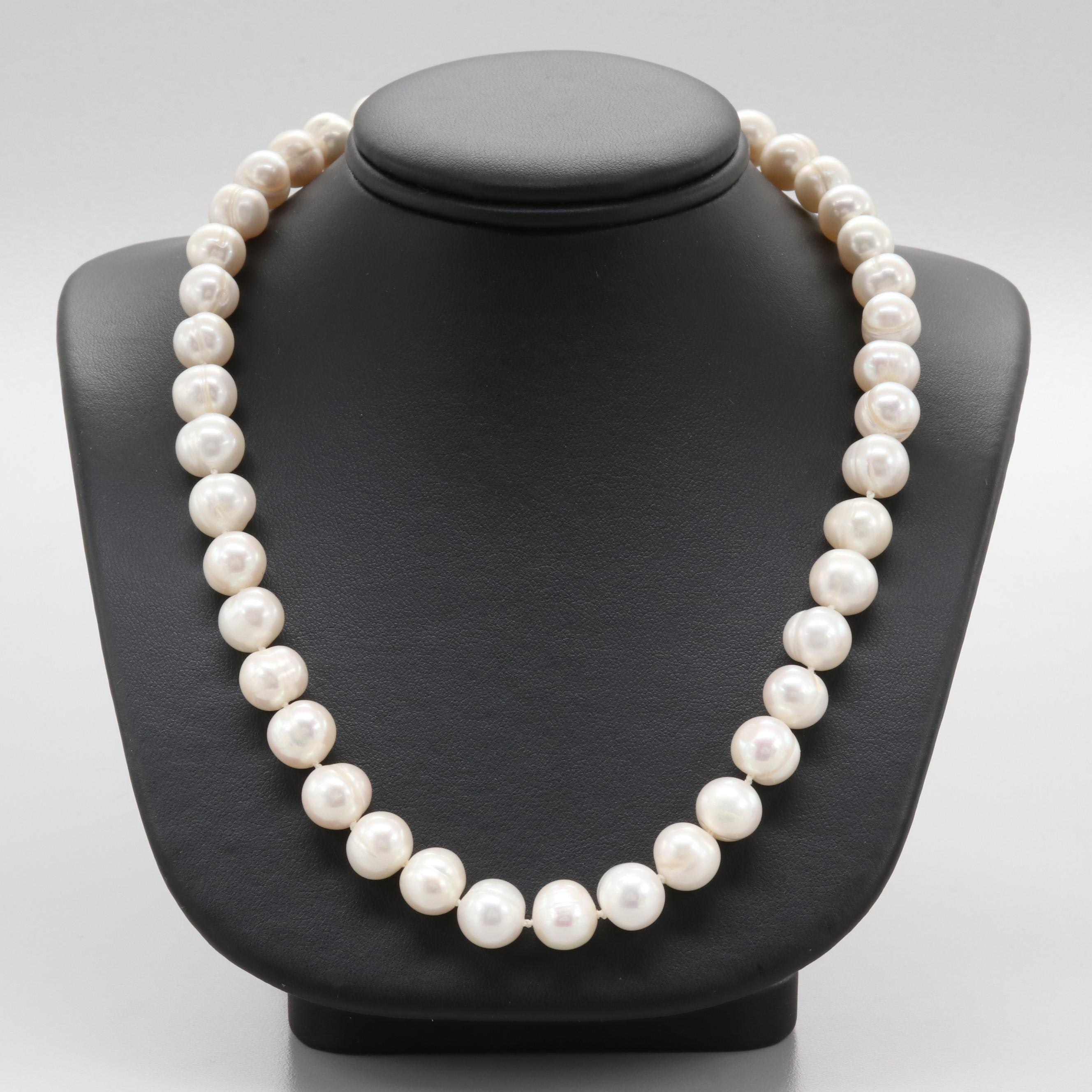 14K Yellow Gold Glass and Cultured Pearl Necklace